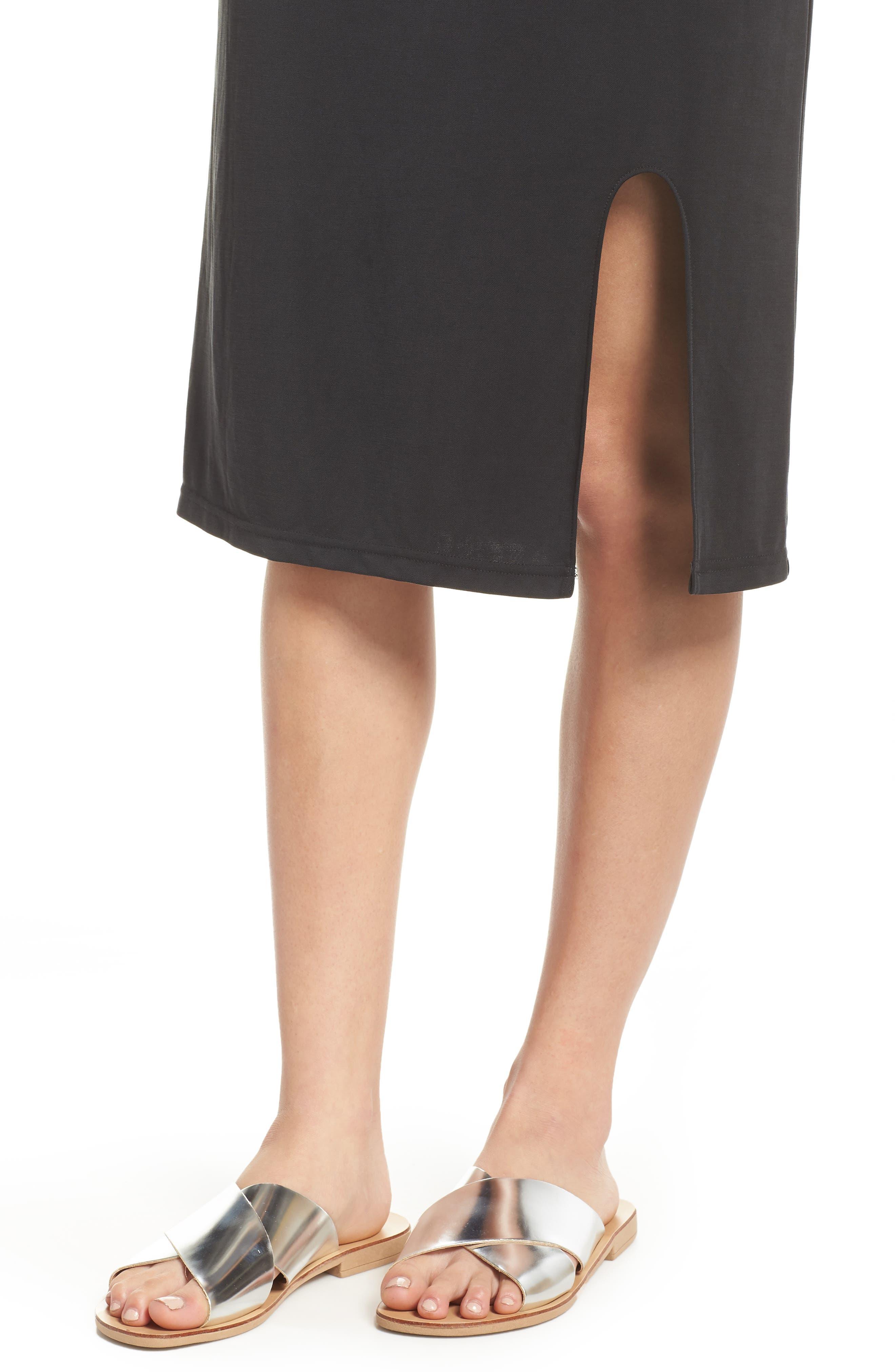 Jersey Midi Dress,                             Alternate thumbnail 4, color,                             001