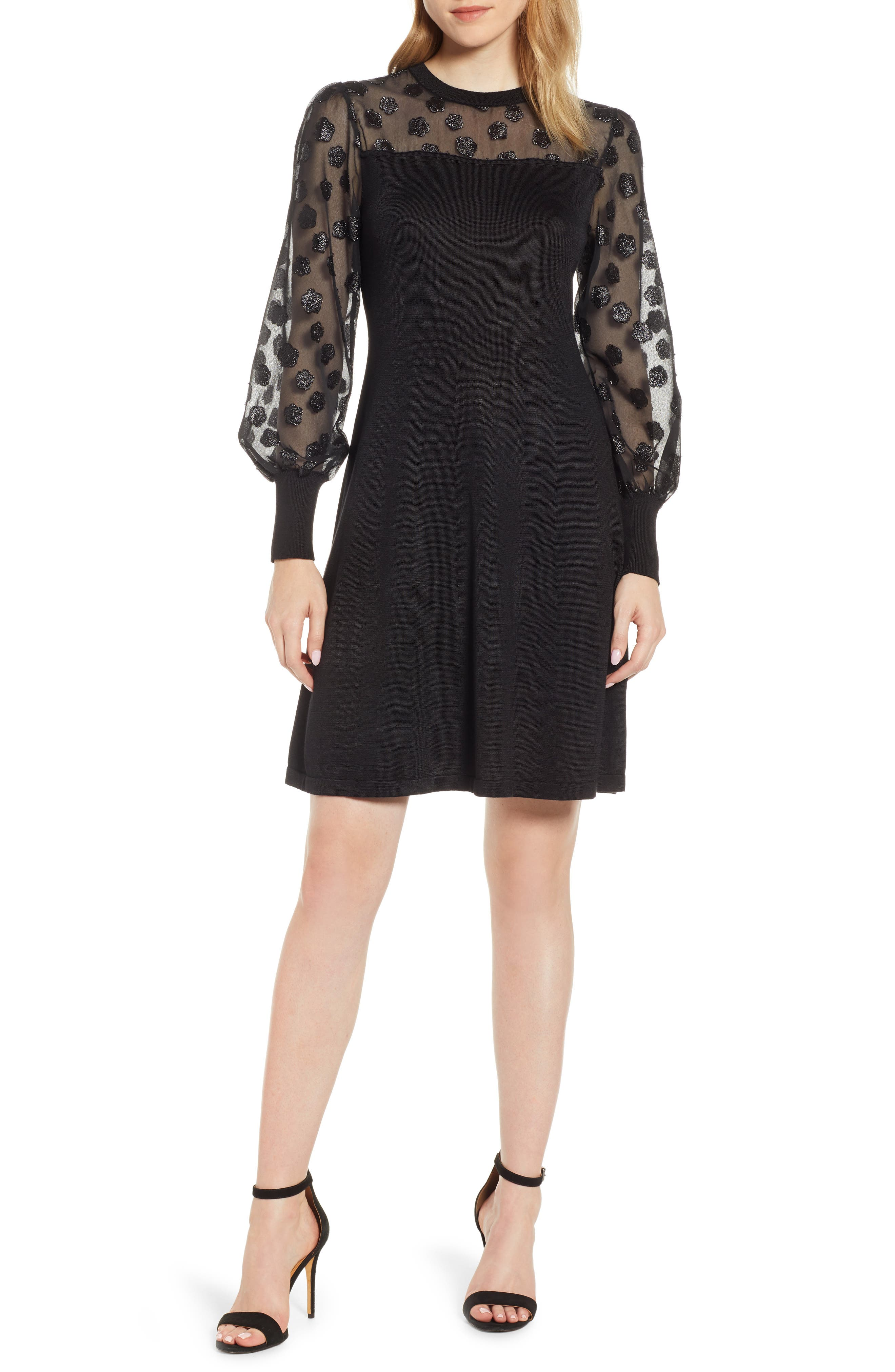 Fil Coupé Mixed Media Dress,                         Main,                         color, RICH BLACK