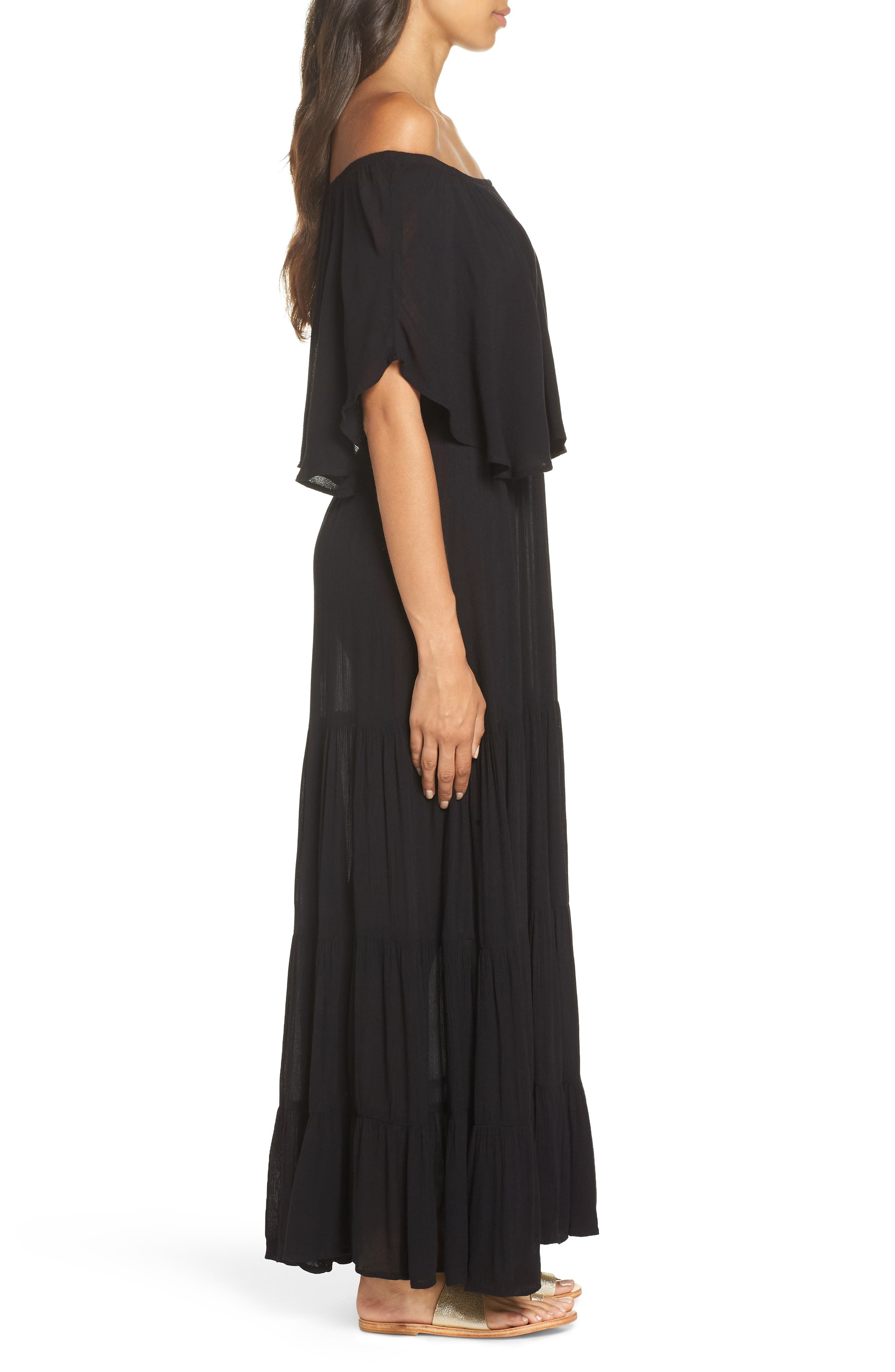 Off the Shoulder Ruffle Cover-Up Maxi Dress,                             Alternate thumbnail 3, color,                             BLACK