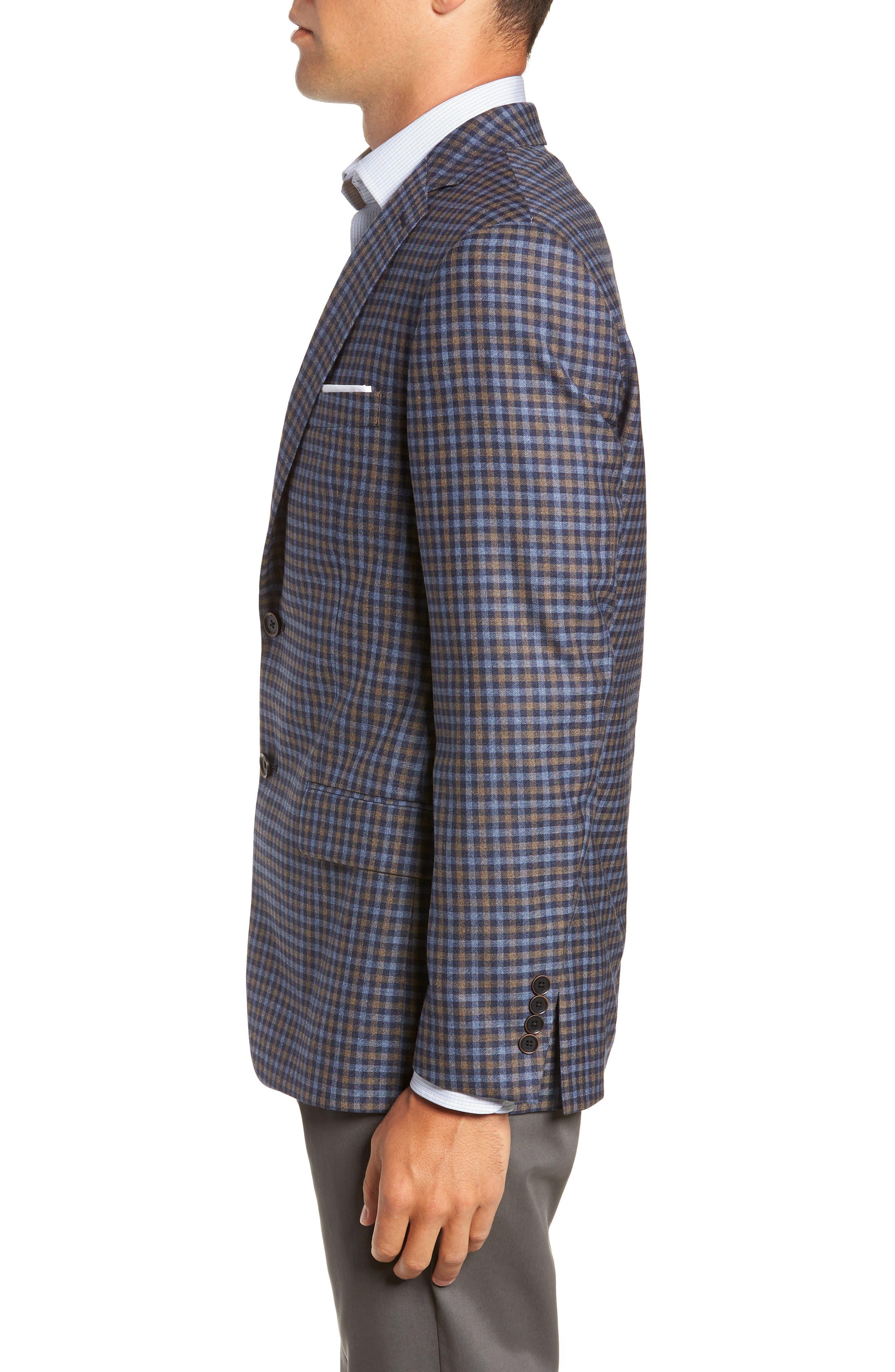 Classic Fit Check Wool Sport Coat,                             Alternate thumbnail 3, color,                             BLUE