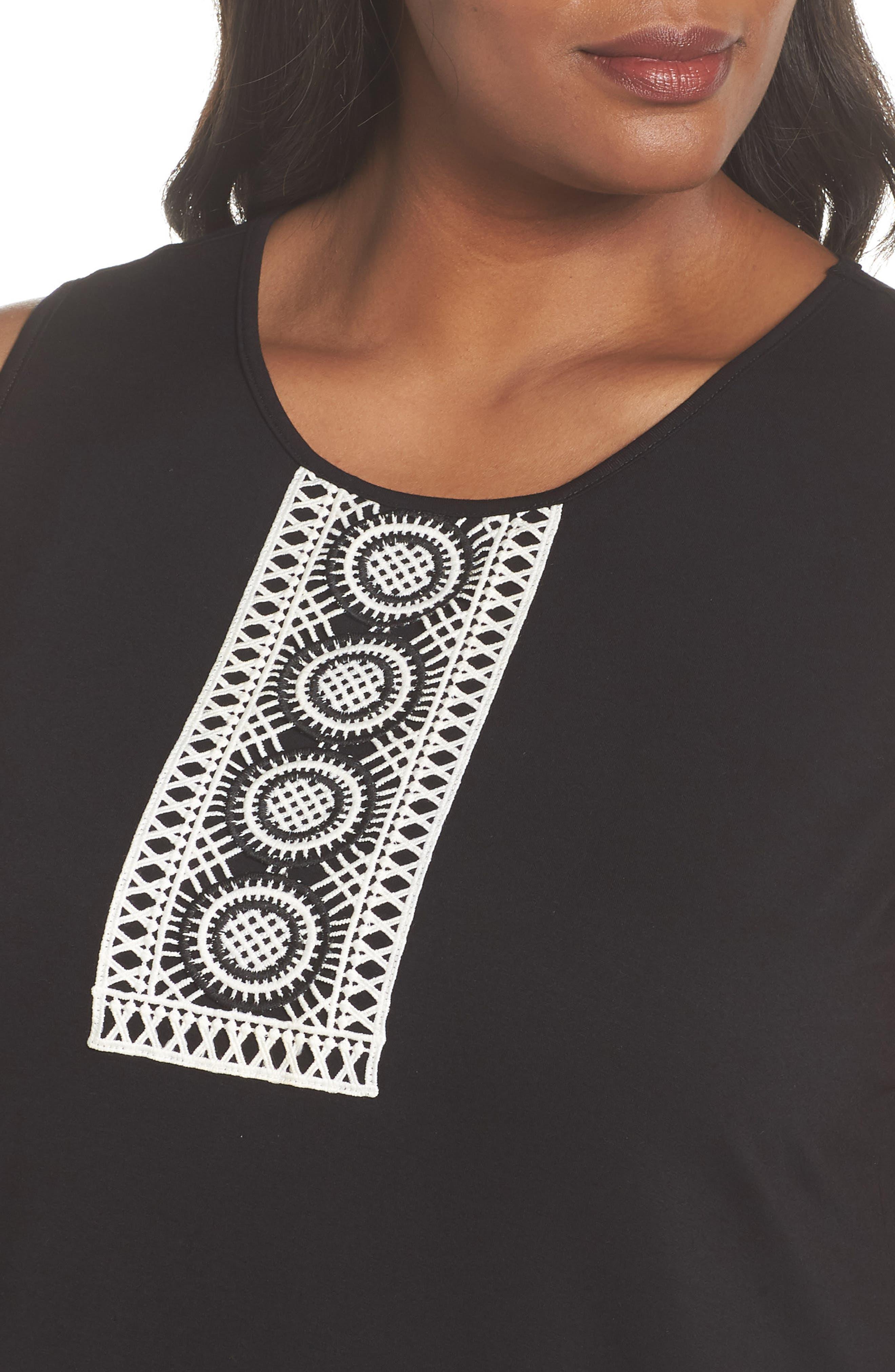 Crochet Bib Appliqué Top,                             Alternate thumbnail 4, color,                             RICH BLACK