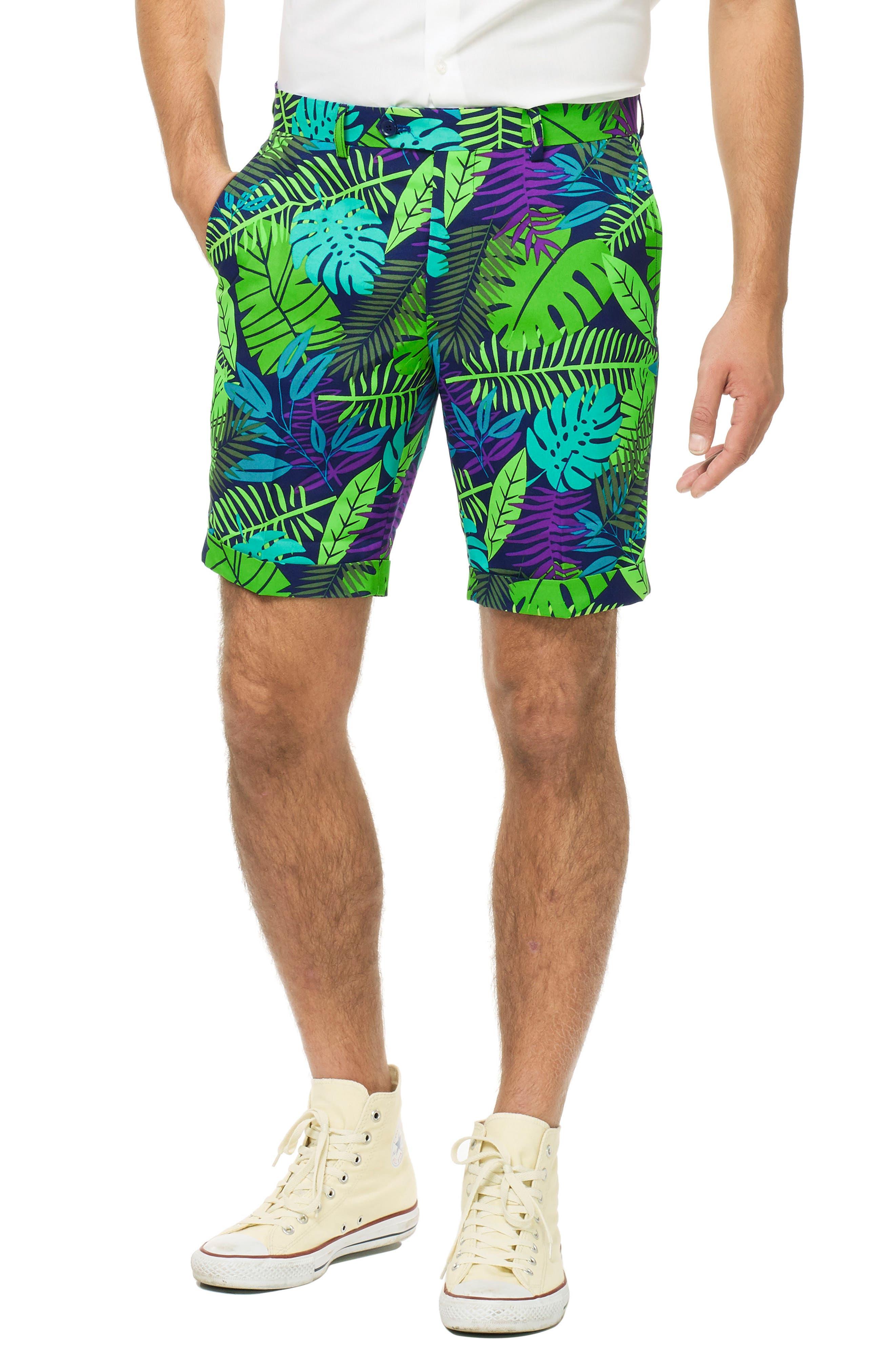 Juicy Jungle Trim Fit Two-Piece Short Suit with Tie,                             Alternate thumbnail 3, color,