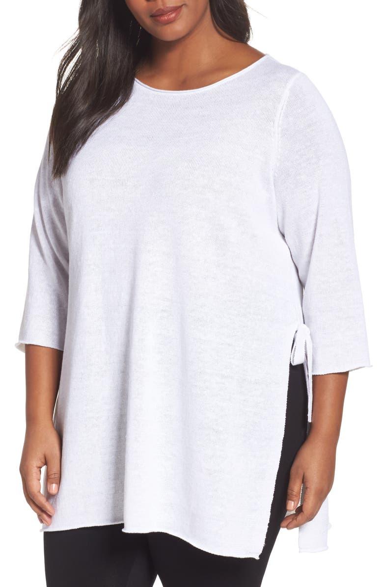 49cb8ea85f4 Eileen Fisher Side Tie Organic Linen Sweater (Plus Size)