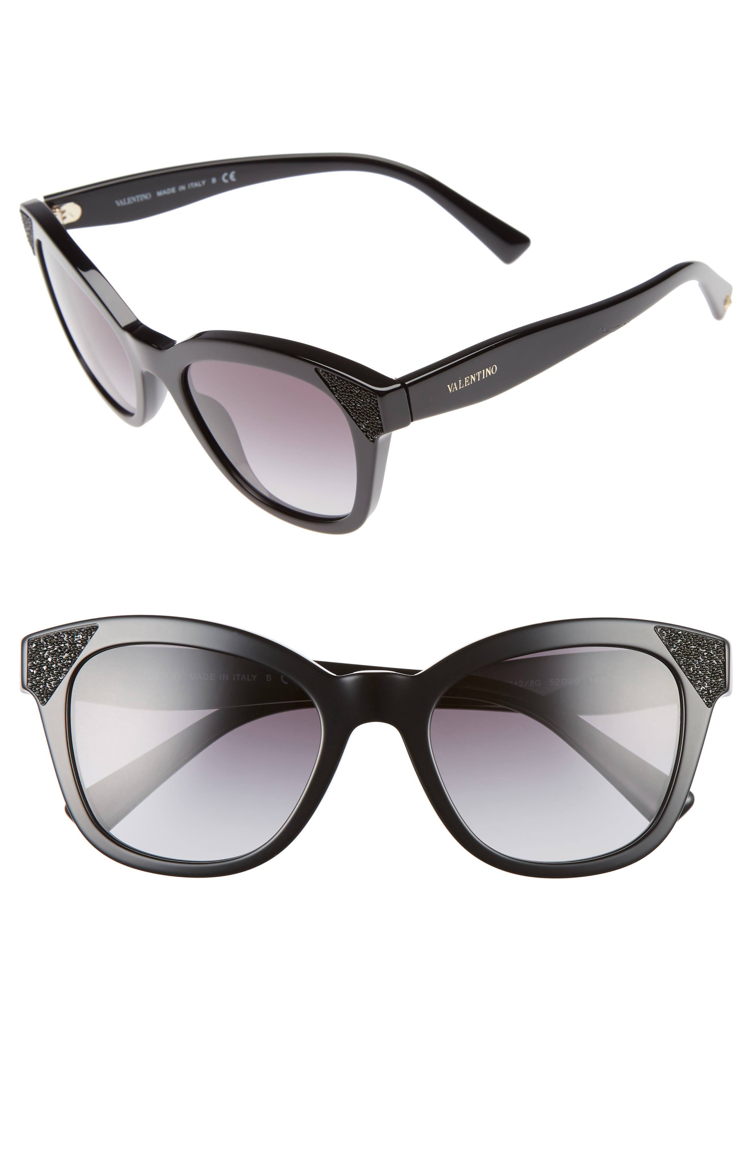52mm Cat Eye Sunglasses,                         Main,                         color, BLACK/ BLACK CRYSTAL