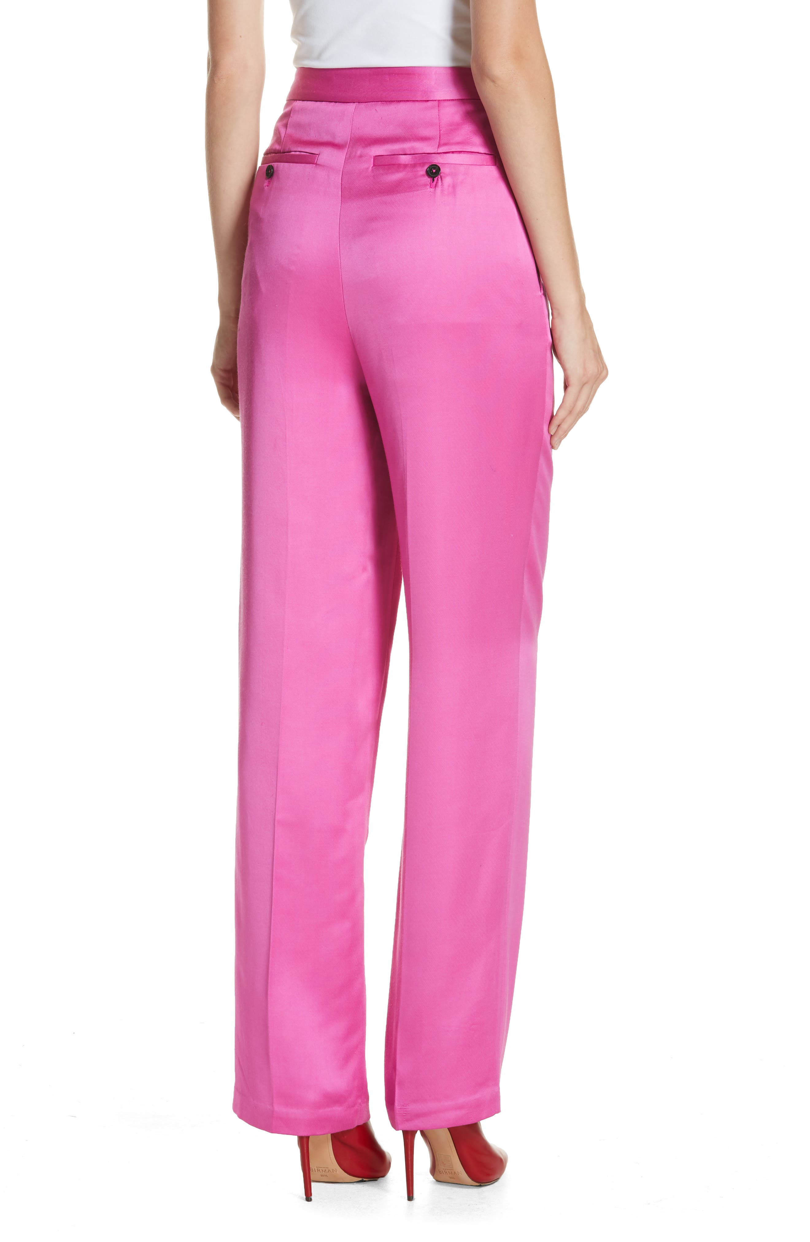 High Waist Satin Twill Pants,                             Alternate thumbnail 2, color,                             HOT PINK