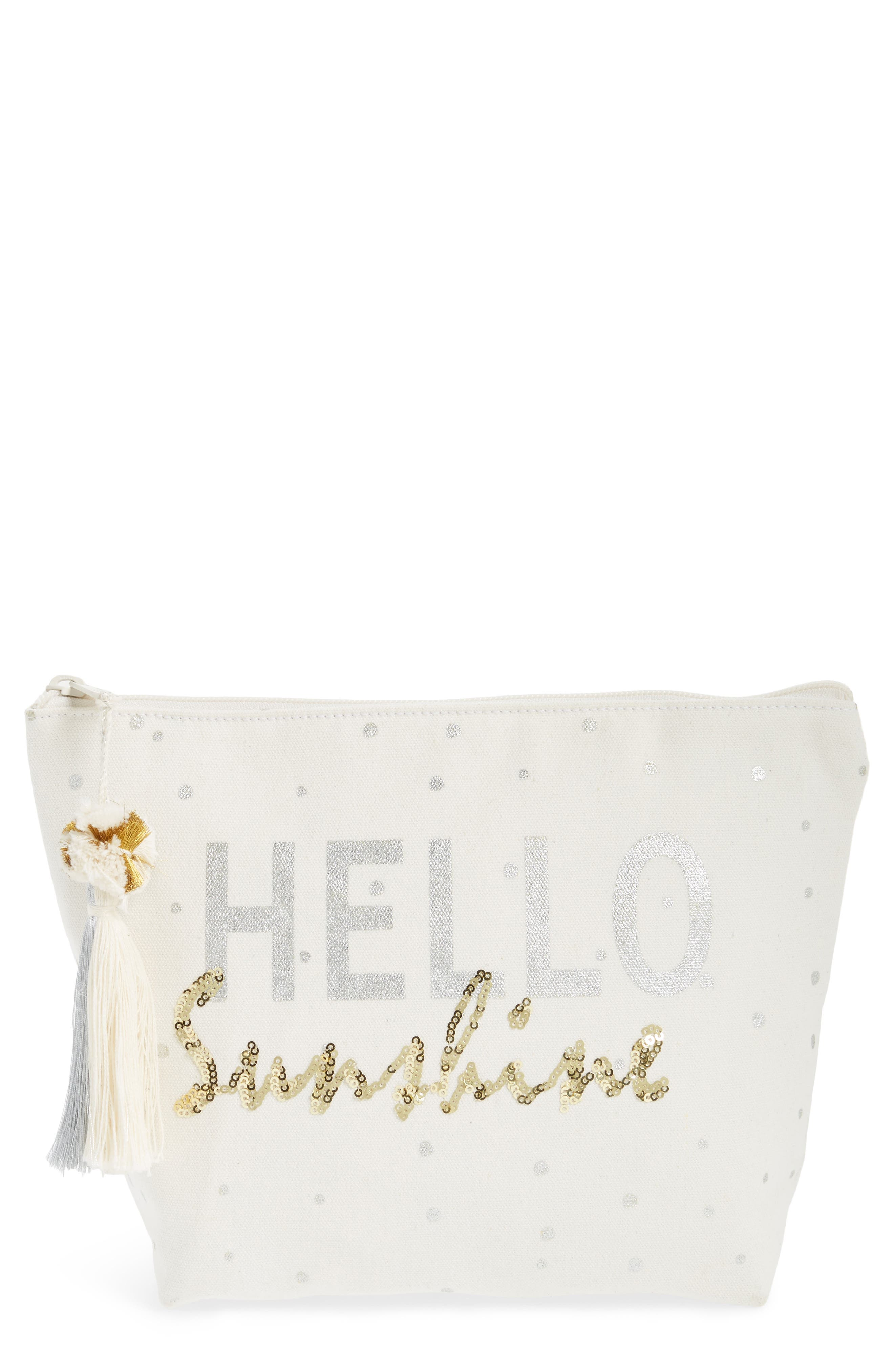 Hello Sunshine Sequin Cosmetic Pouch,                             Main thumbnail 1, color,                             250