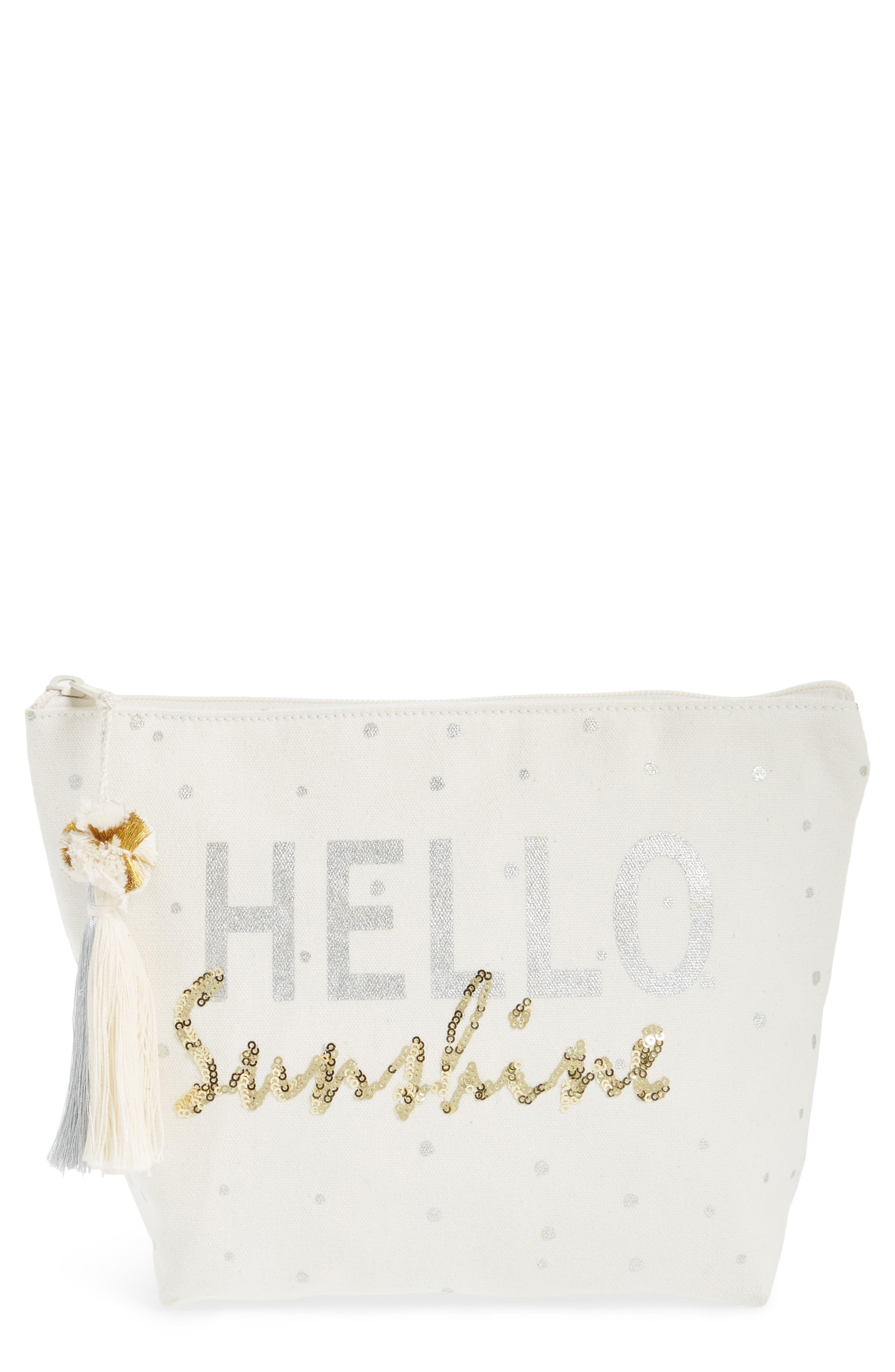Hello Sunshine Sequin Cosmetic Pouch, Main, color, 250