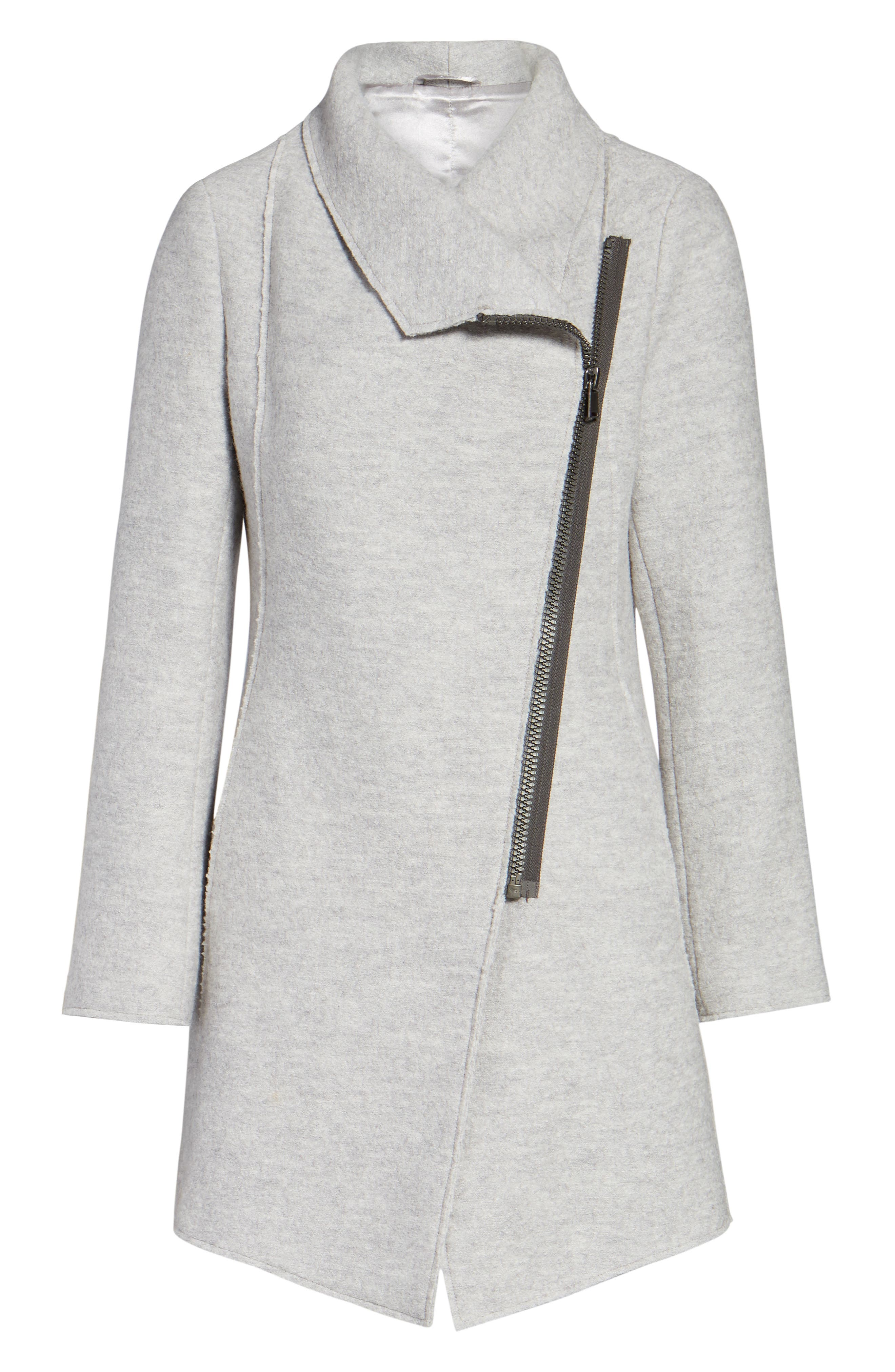Asymmetrical Zip Boiled Wool Blend Coat,                             Alternate thumbnail 6, color,                             GREY DOVE