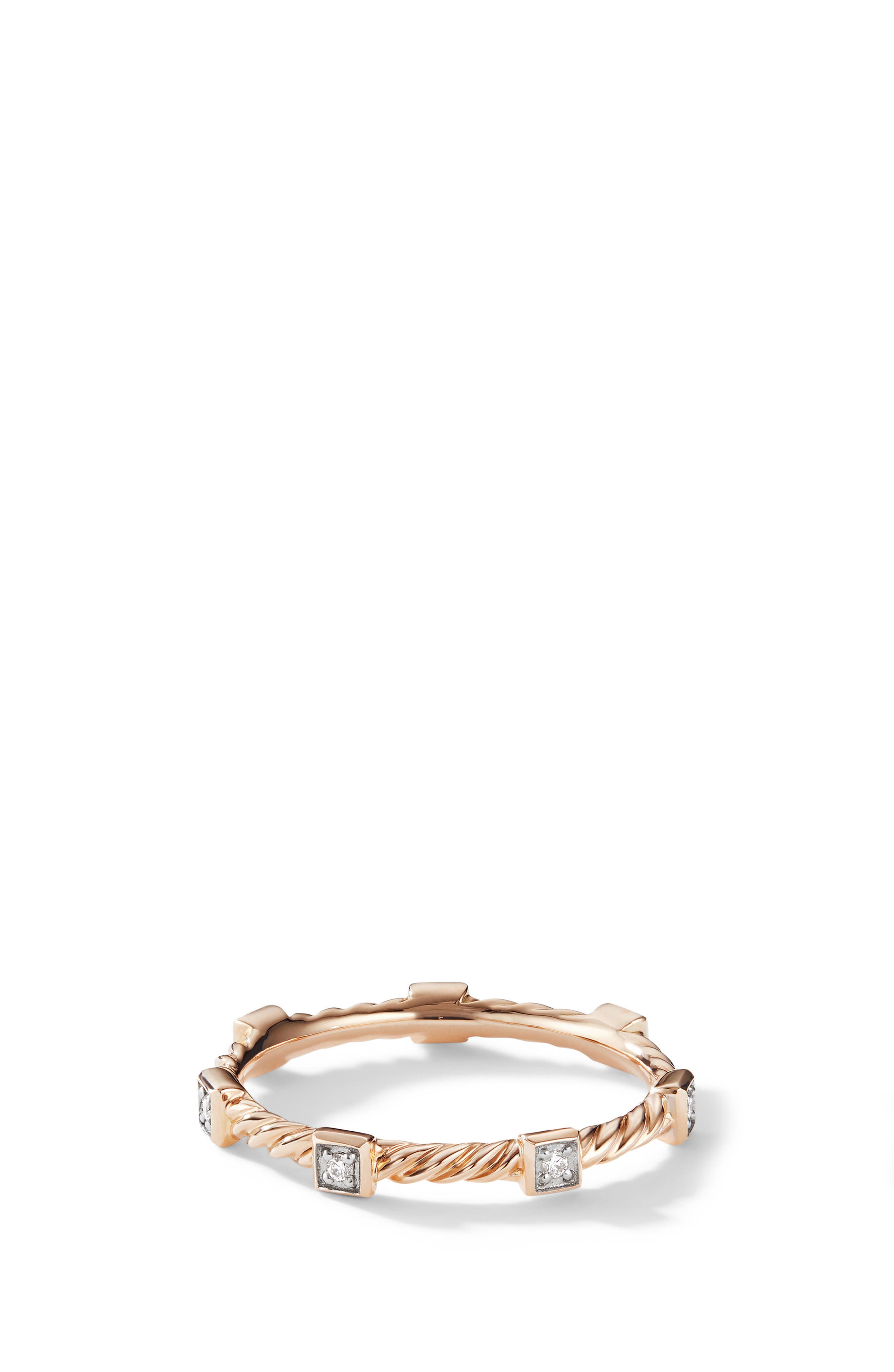 Cable Stack Ring in 18K Rose Gold with Diamonds,                         Main,                         color, ROSE GOLD/ DIAMOND