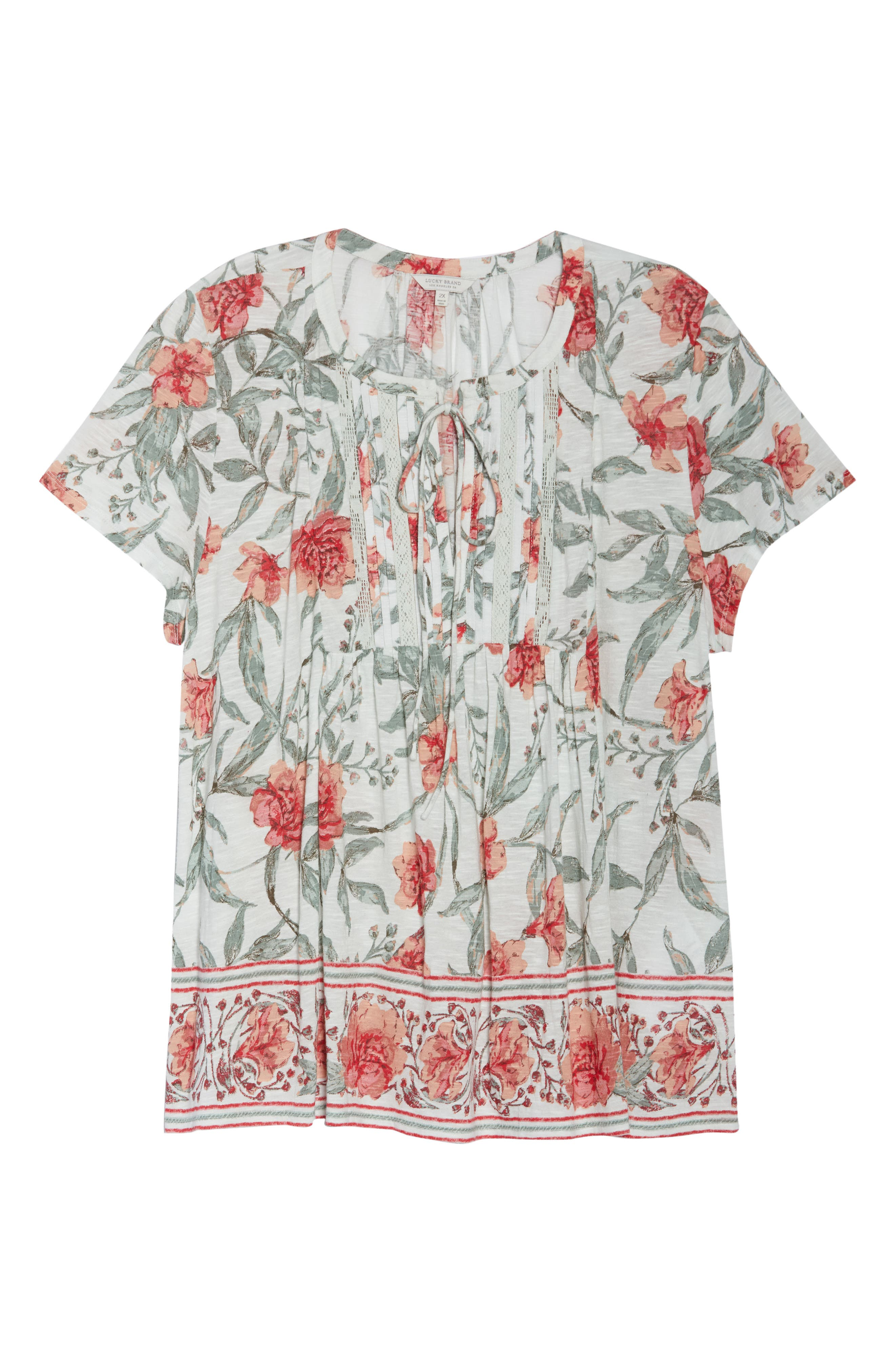 Floral Flutter Sleeve Top,                             Alternate thumbnail 6, color,                             460