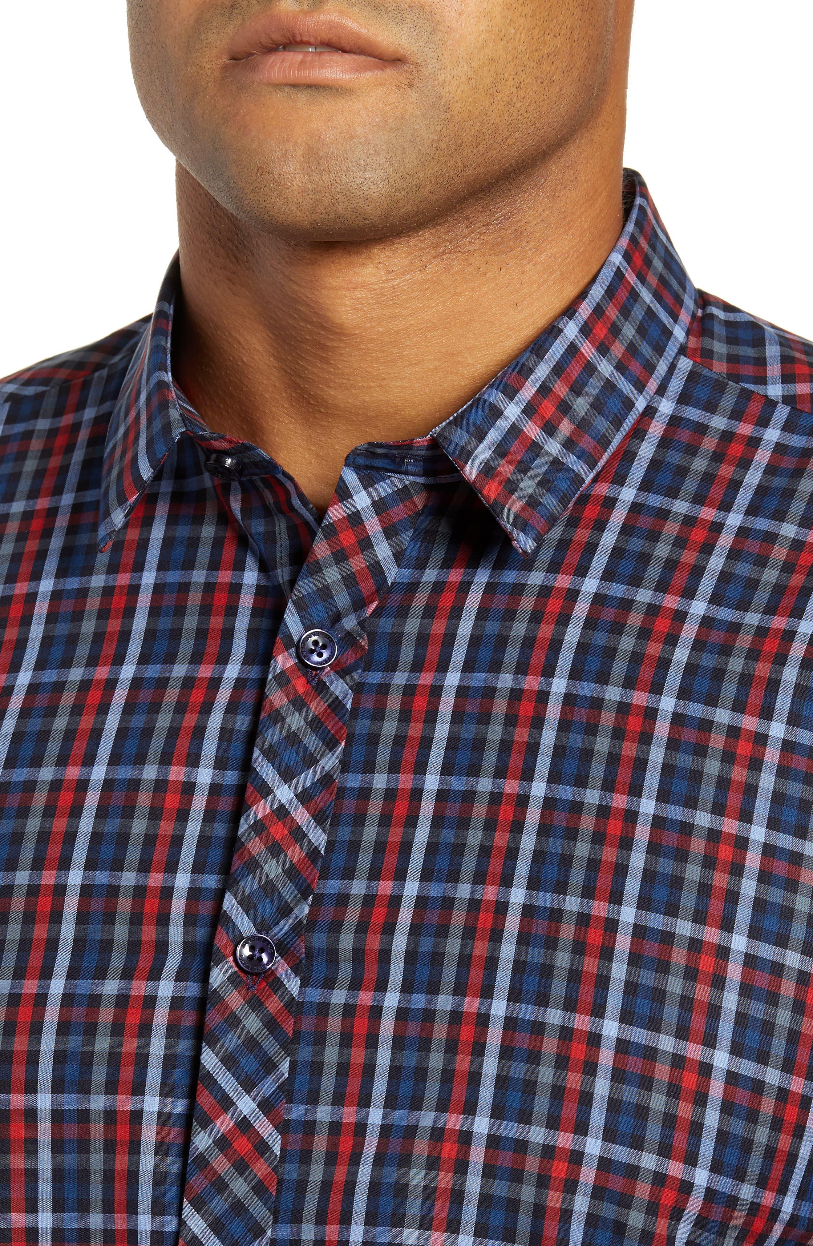 Trim Fit Sport Shirt,                             Alternate thumbnail 2, color,                             RED - BLUE MULTI CHECK