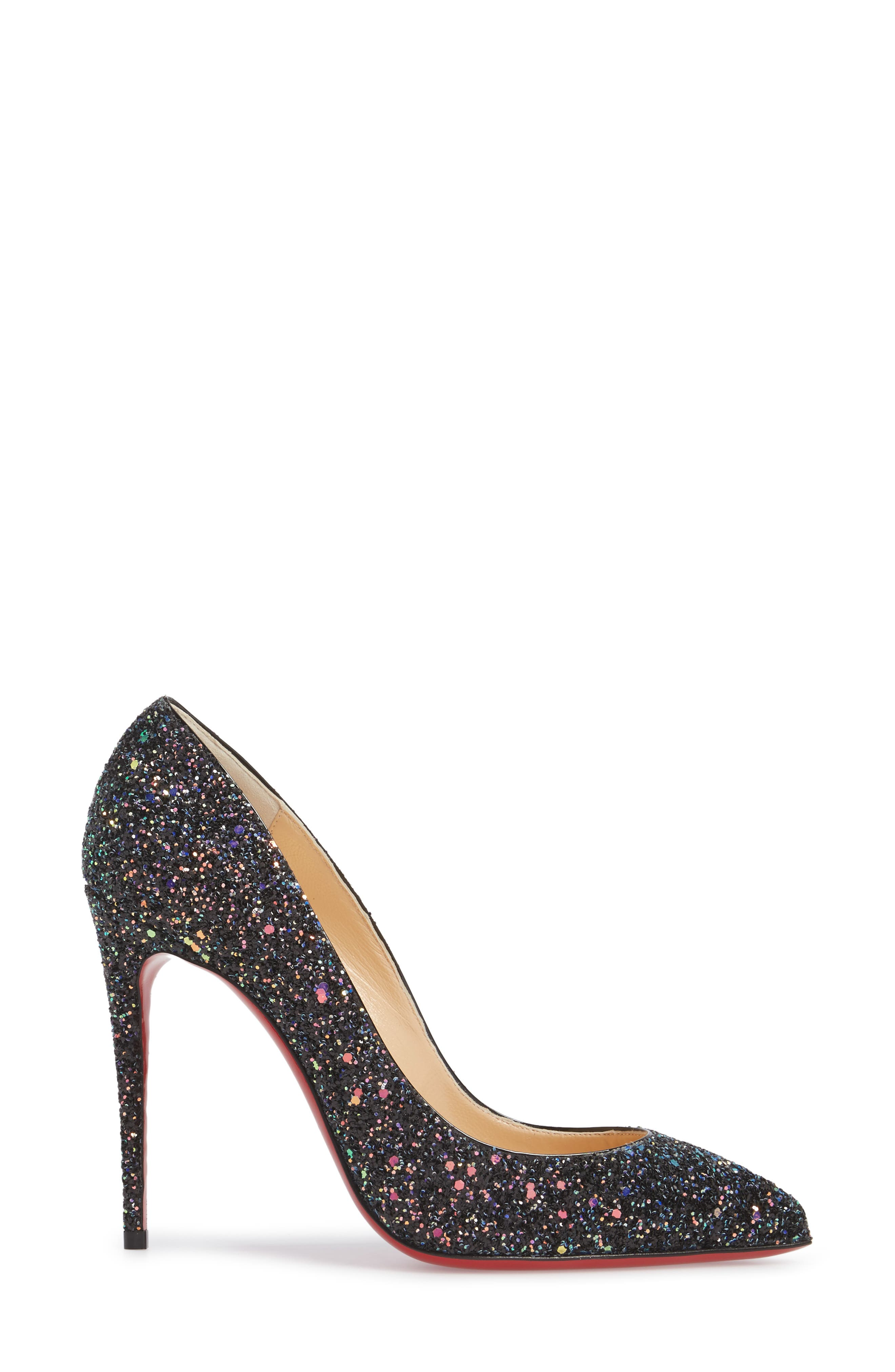 Pigalle Follies Glitter Pointy Toe Pump,                             Alternate thumbnail 3, color,                             001