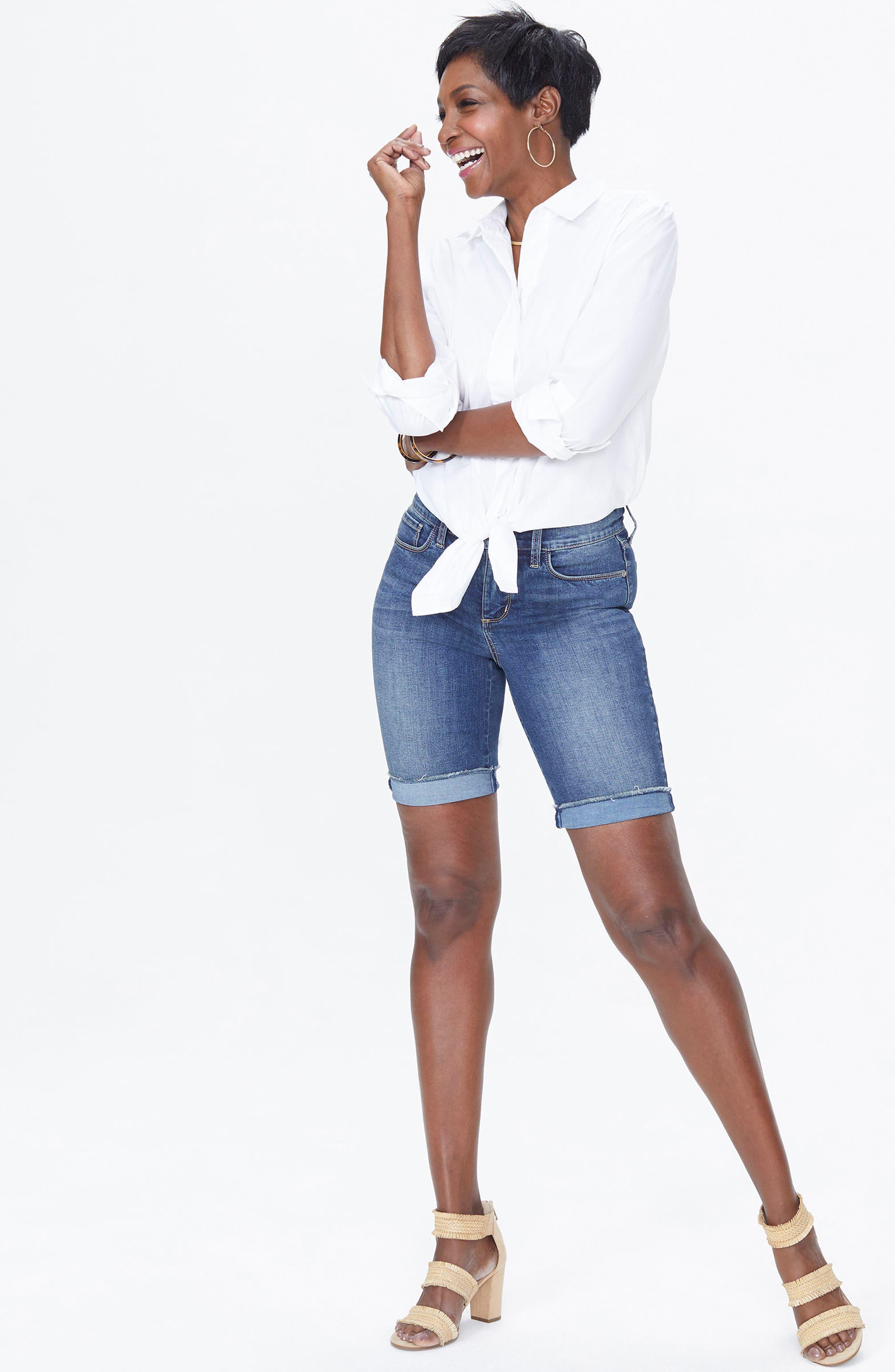 Briella Frayed Hem Denim Bermuda Shorts,                             Alternate thumbnail 4, color,                             420