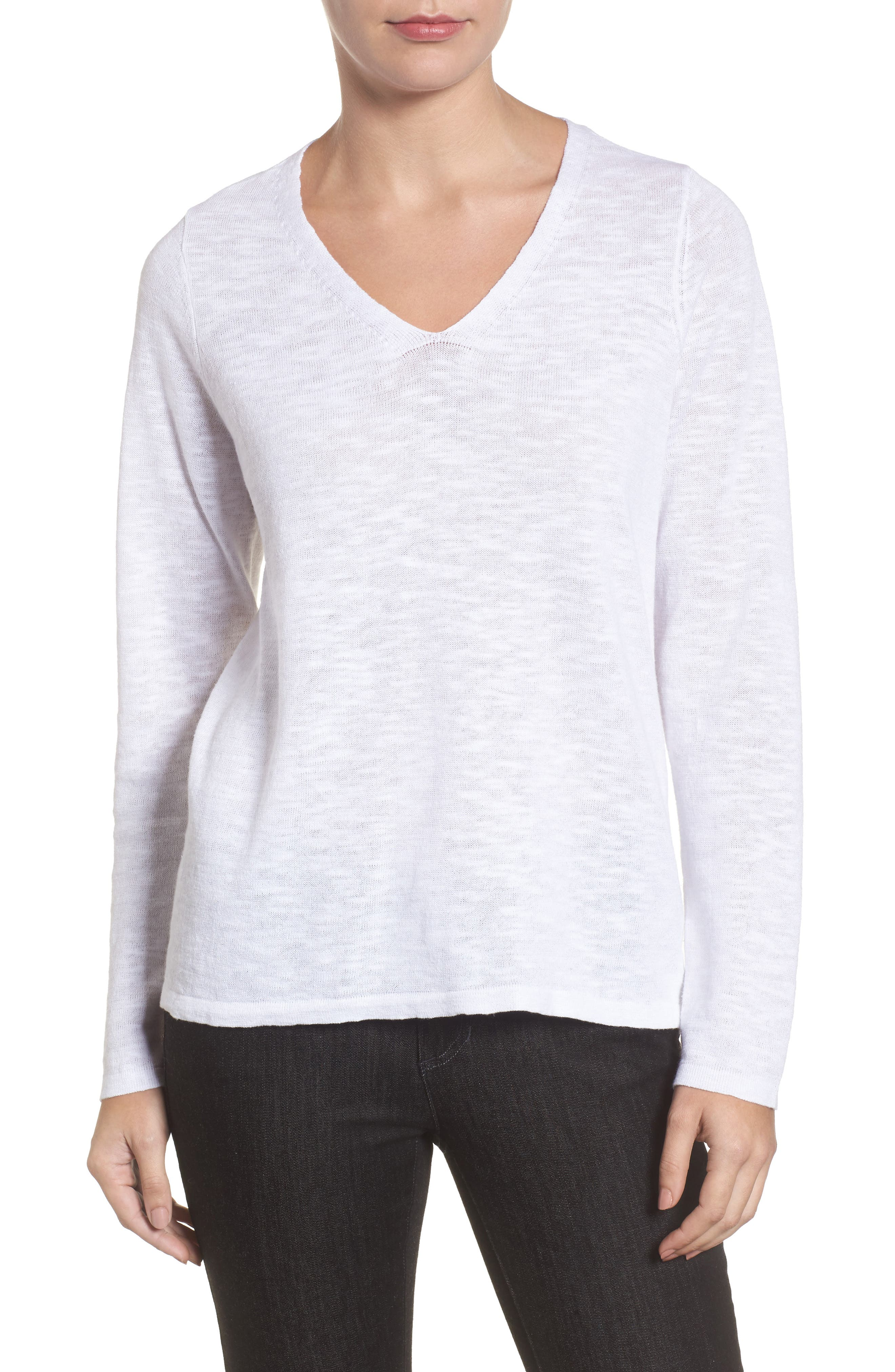 Organic Linen & Cotton V-Neck Sweater,                             Main thumbnail 1, color,