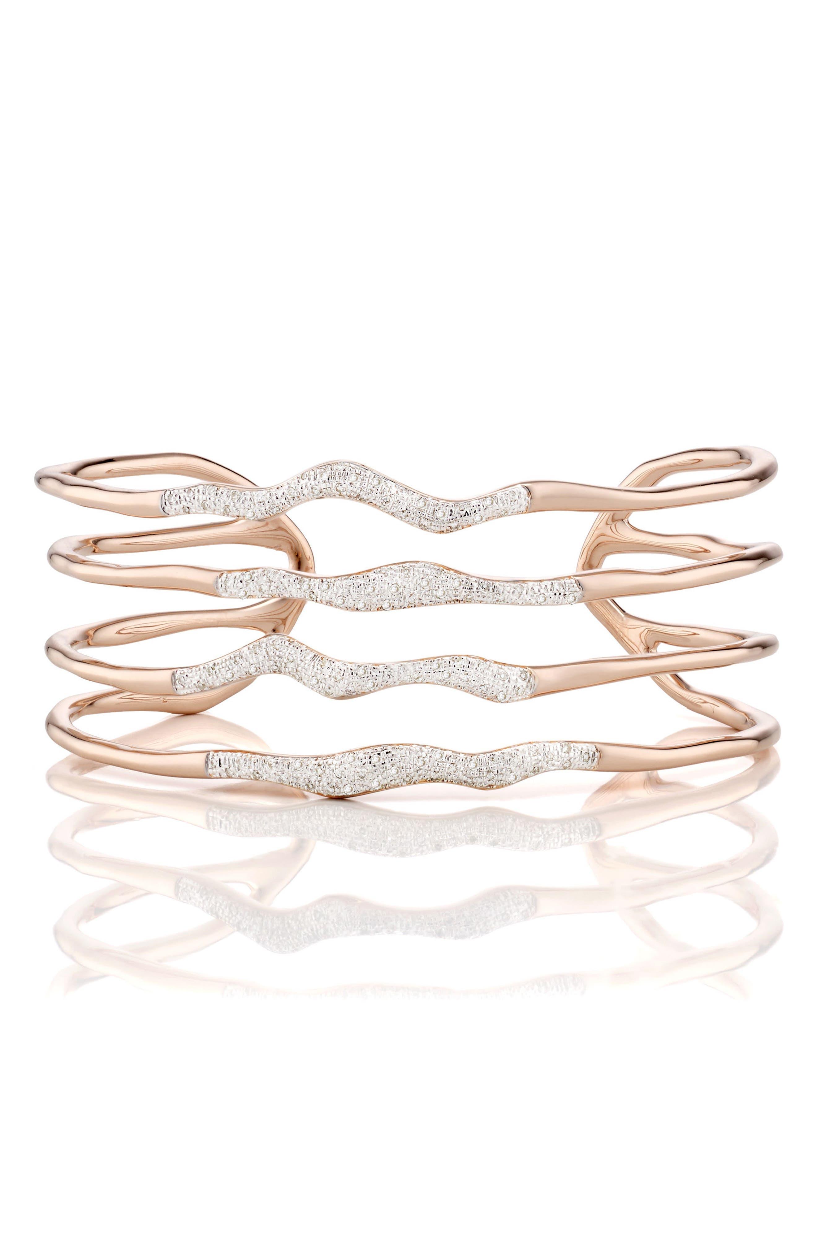 Riva Diamond Hero Wave Cuff Bracelet,                         Main,                         color, ROSE GOLD/ DIAMOND