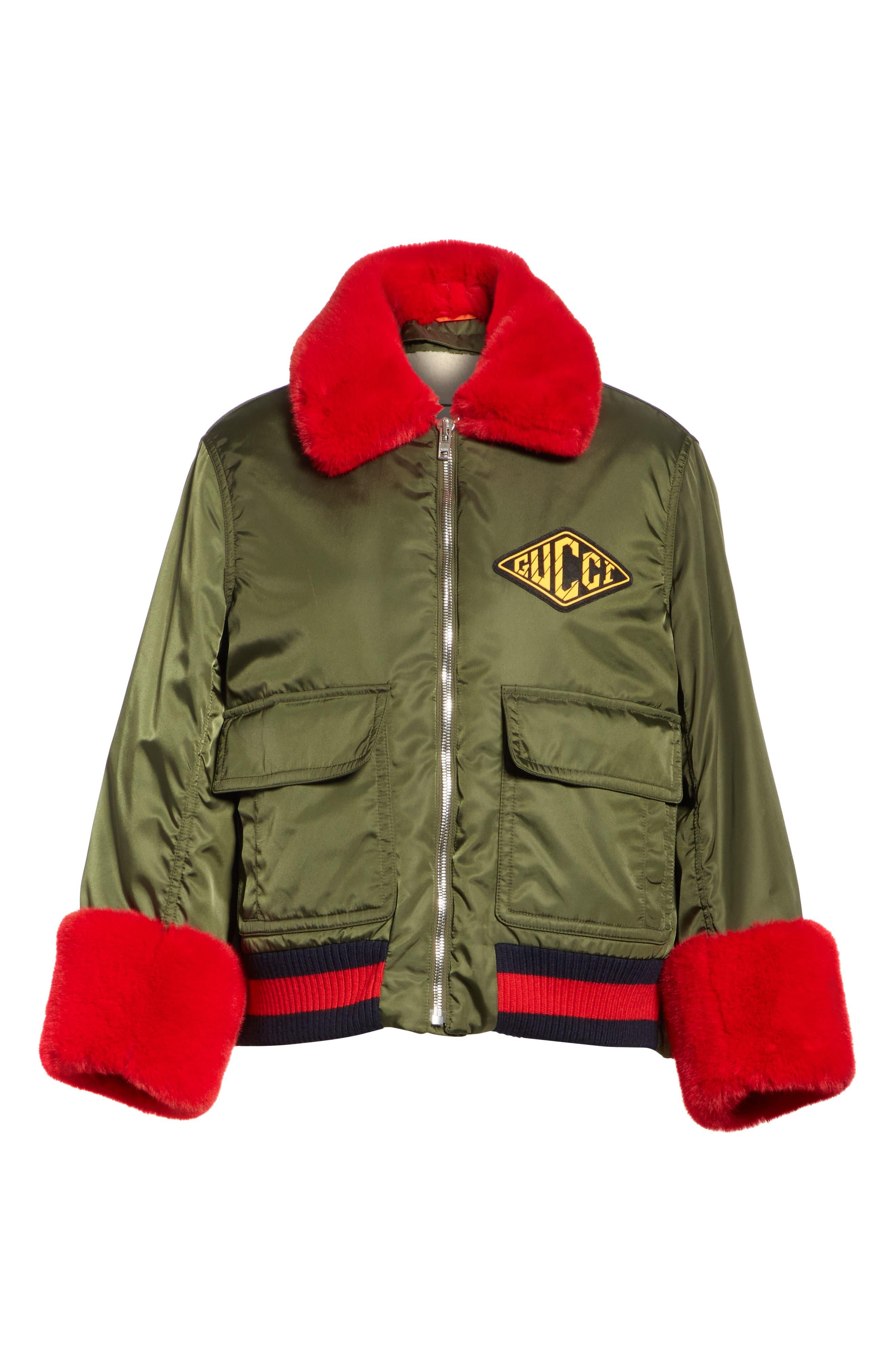 Faux Fur Trim Nylon Flight Jacket,                             Alternate thumbnail 4, color,                             MILITARY GREEN/ MULTI