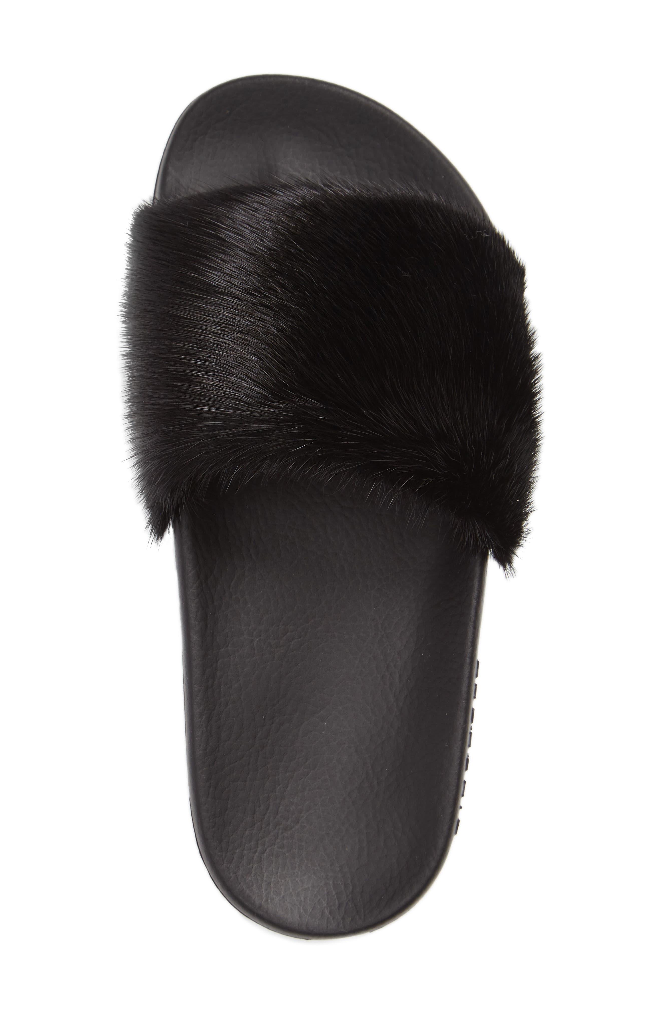 Genuine Mink Fur Slide Sandal,                             Alternate thumbnail 4, color,                             BLACK MINK