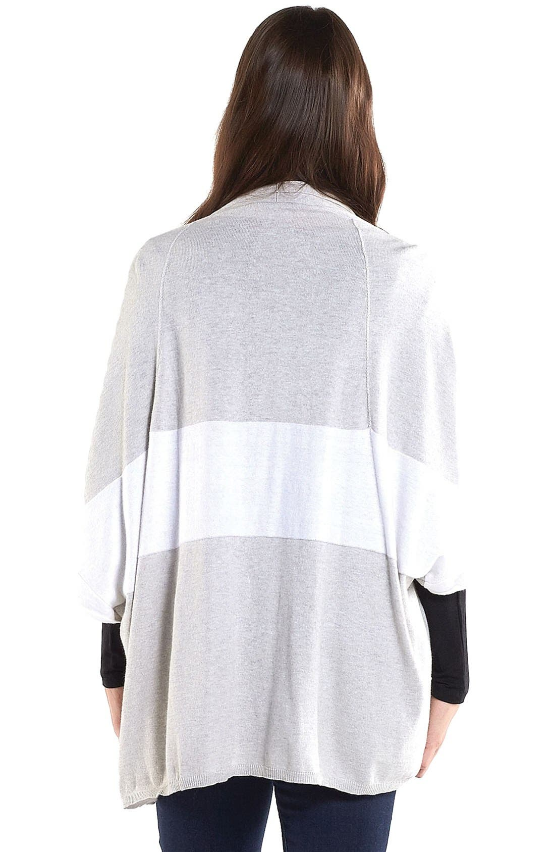 'Harlyn' Cotton & Cashmere Maternity Wrap Cardigan,                             Alternate thumbnail 3, color,                             HEATHER GREY/ WHITE