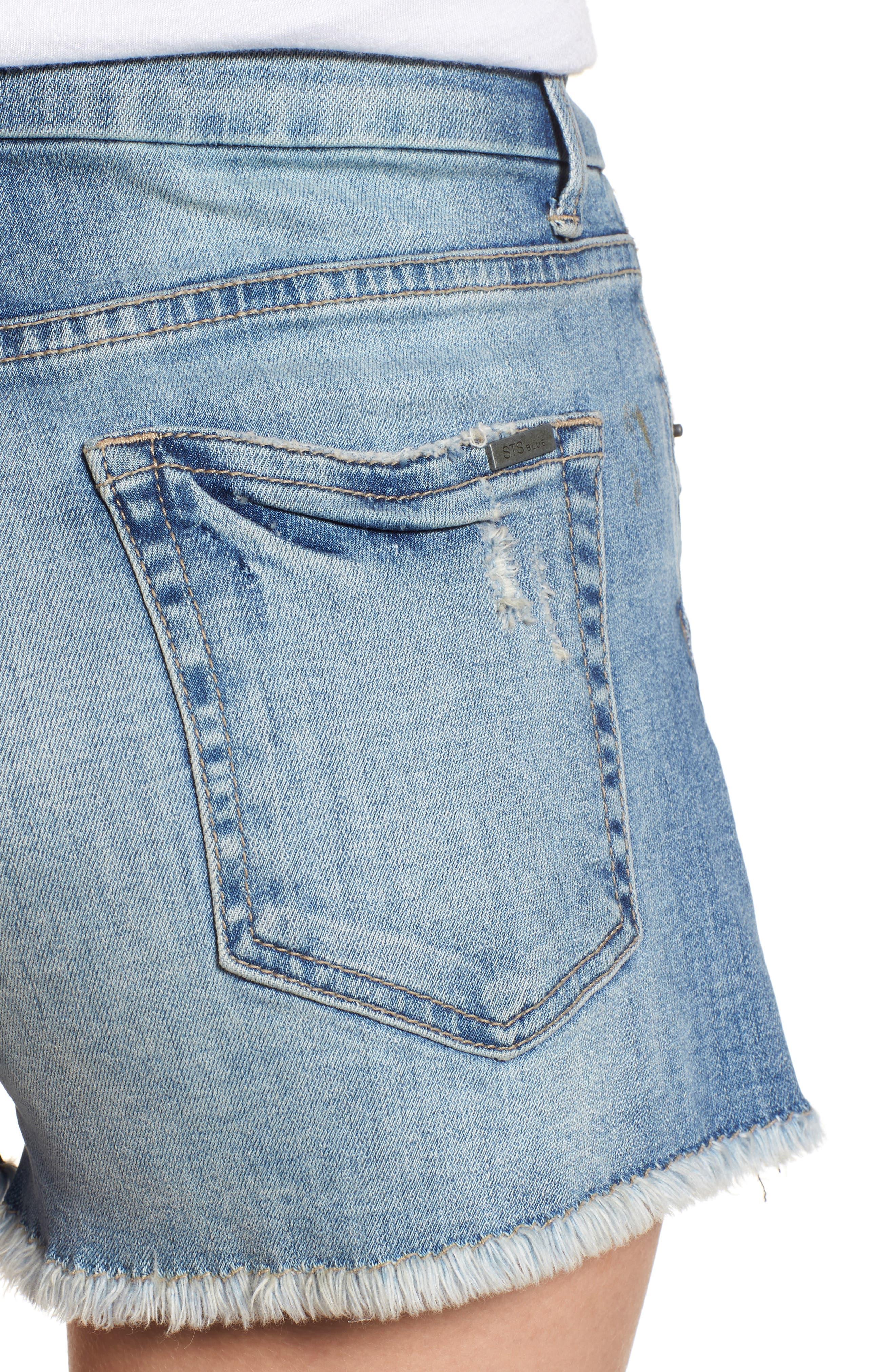 High Waist Boyfriend Shorts,                             Alternate thumbnail 4, color,                             400