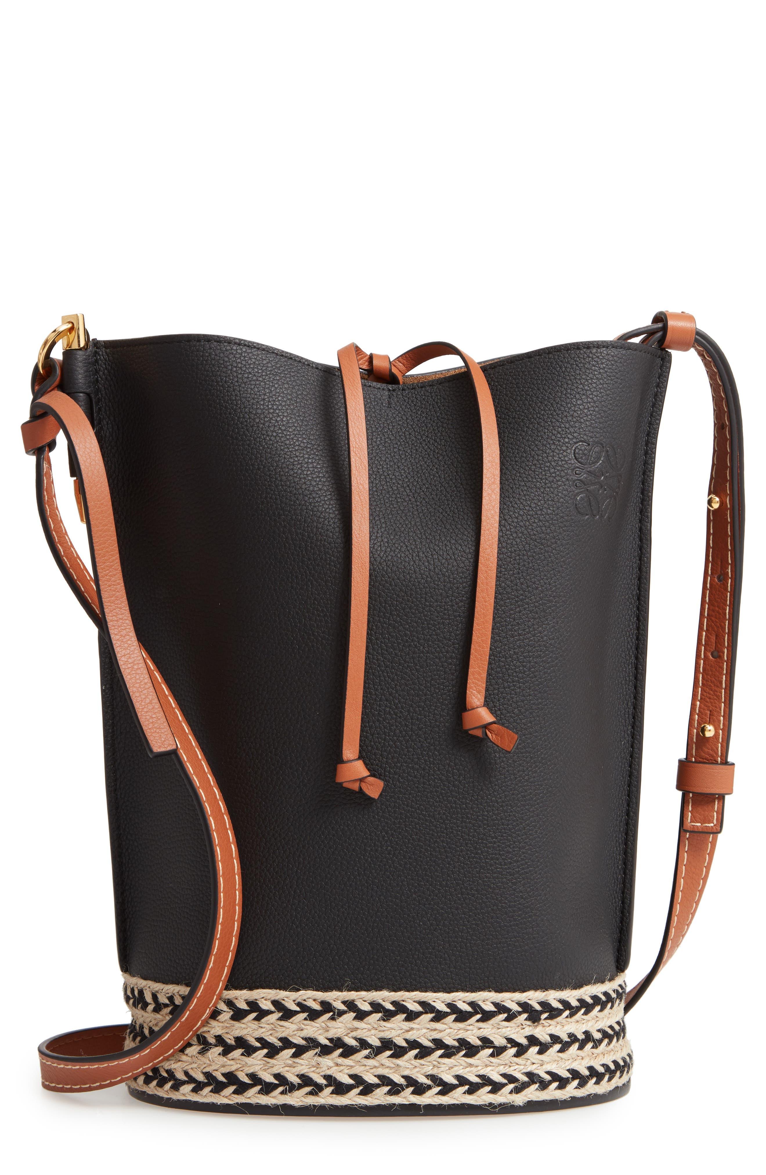 LOEWE Gate Espadrillas Leather Bucket Bag, Main, color, BLACK