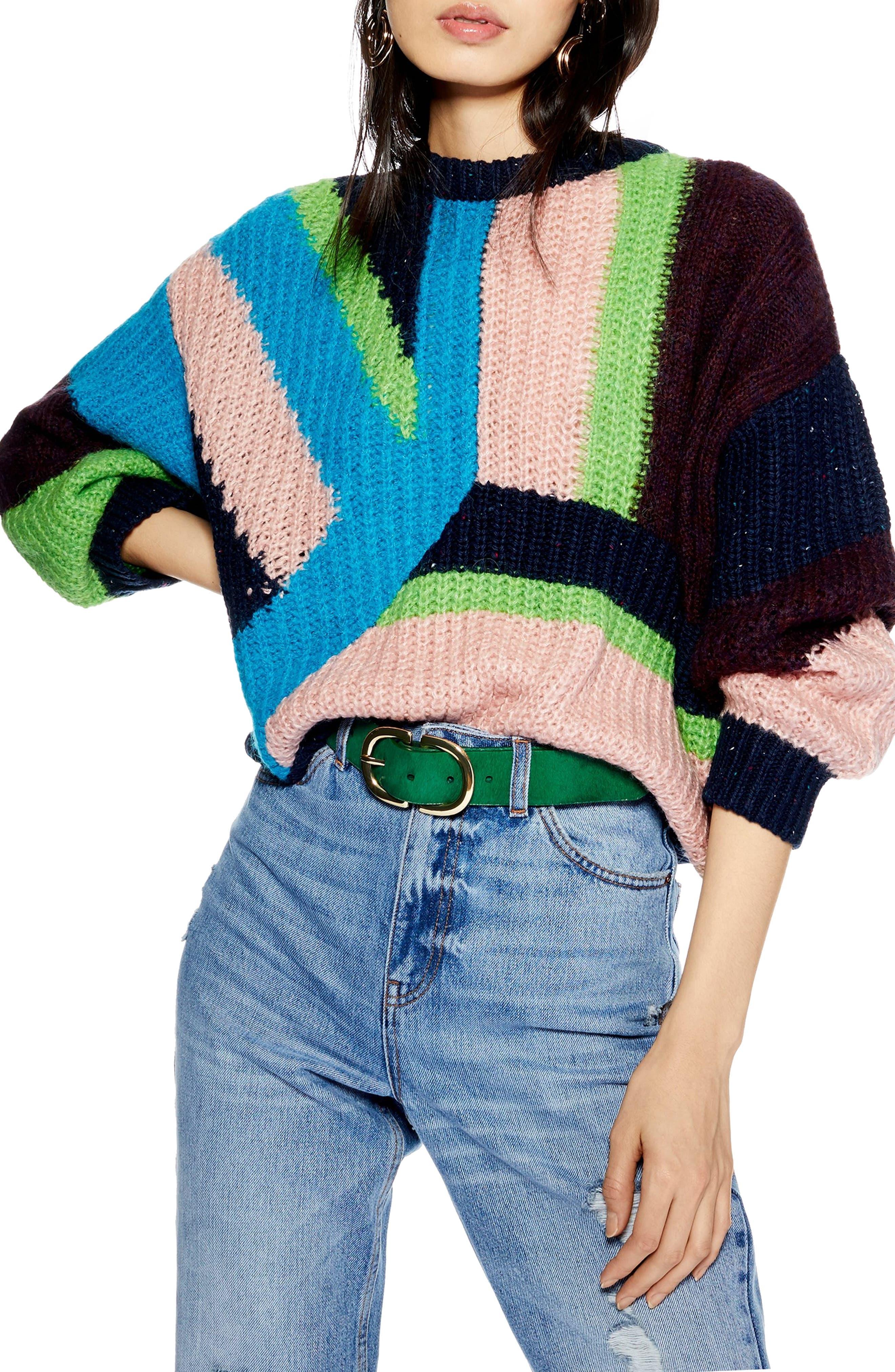 TOPSHOP,                             Colorblock Sweater,                             Main thumbnail 1, color,                             002