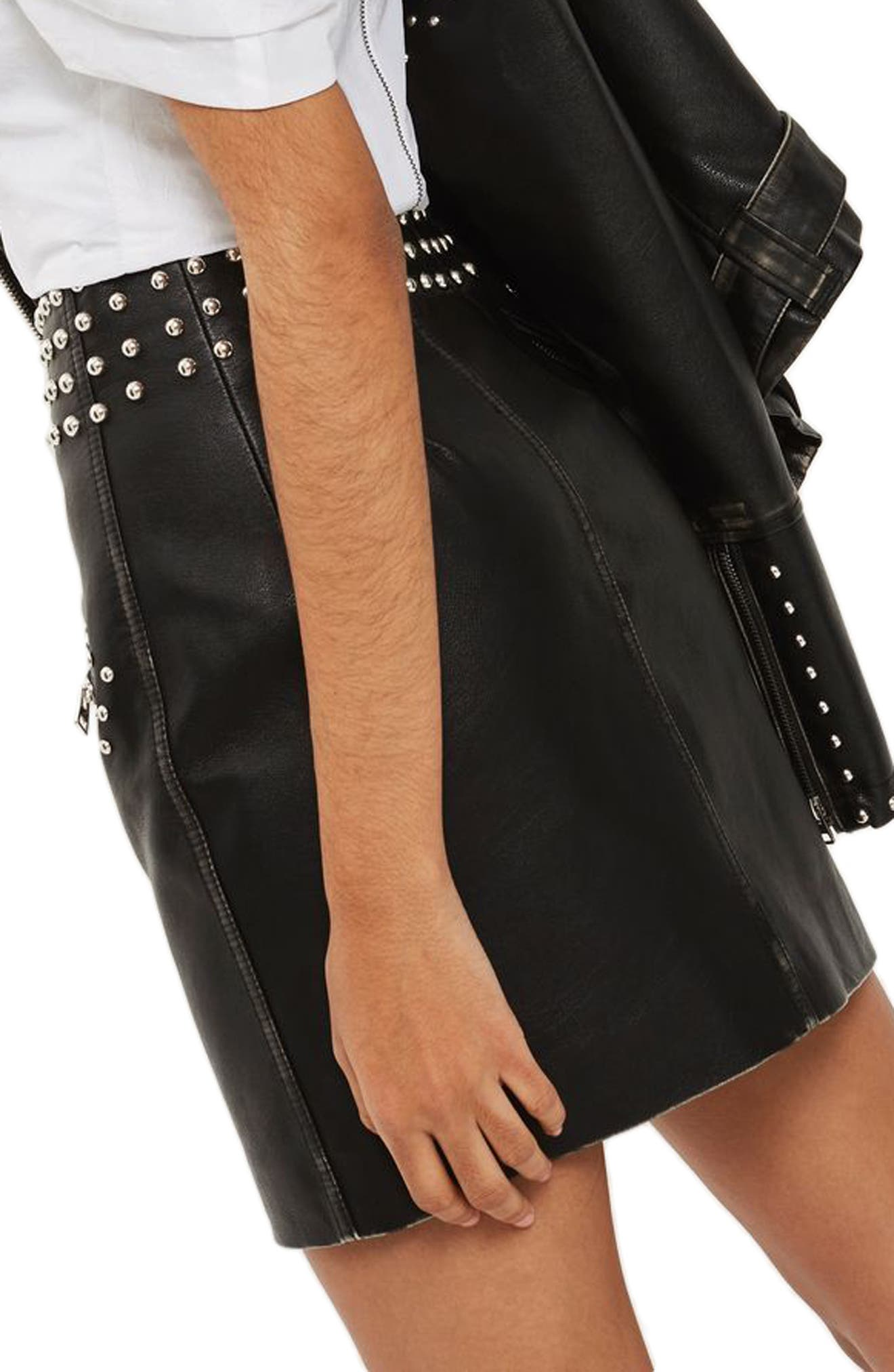 Amy Studded Faux Leather High Waist Skirt,                             Alternate thumbnail 2, color,
