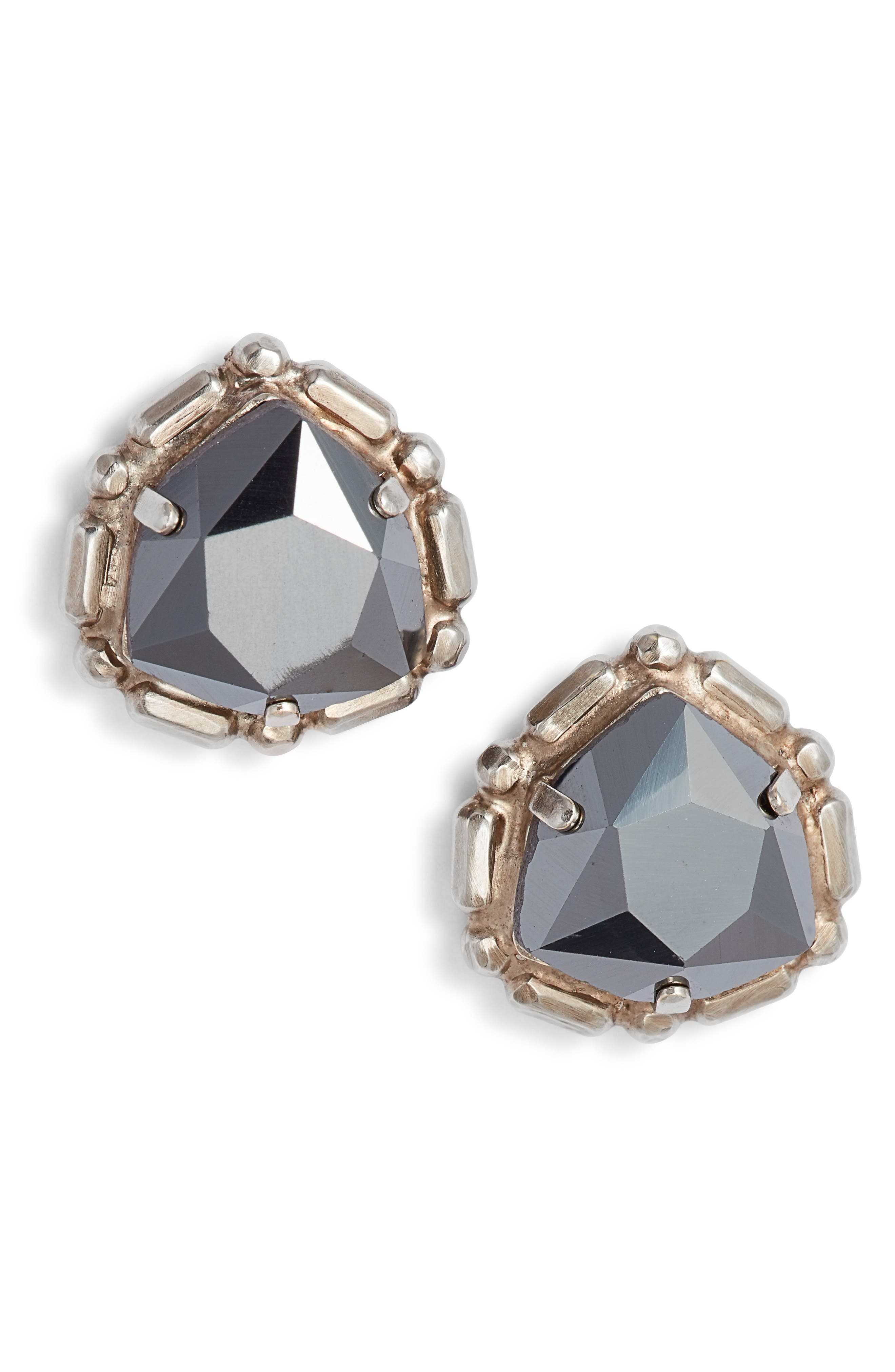 SORRELLI Adorned Triangle Crystal Stud Earrings in Black