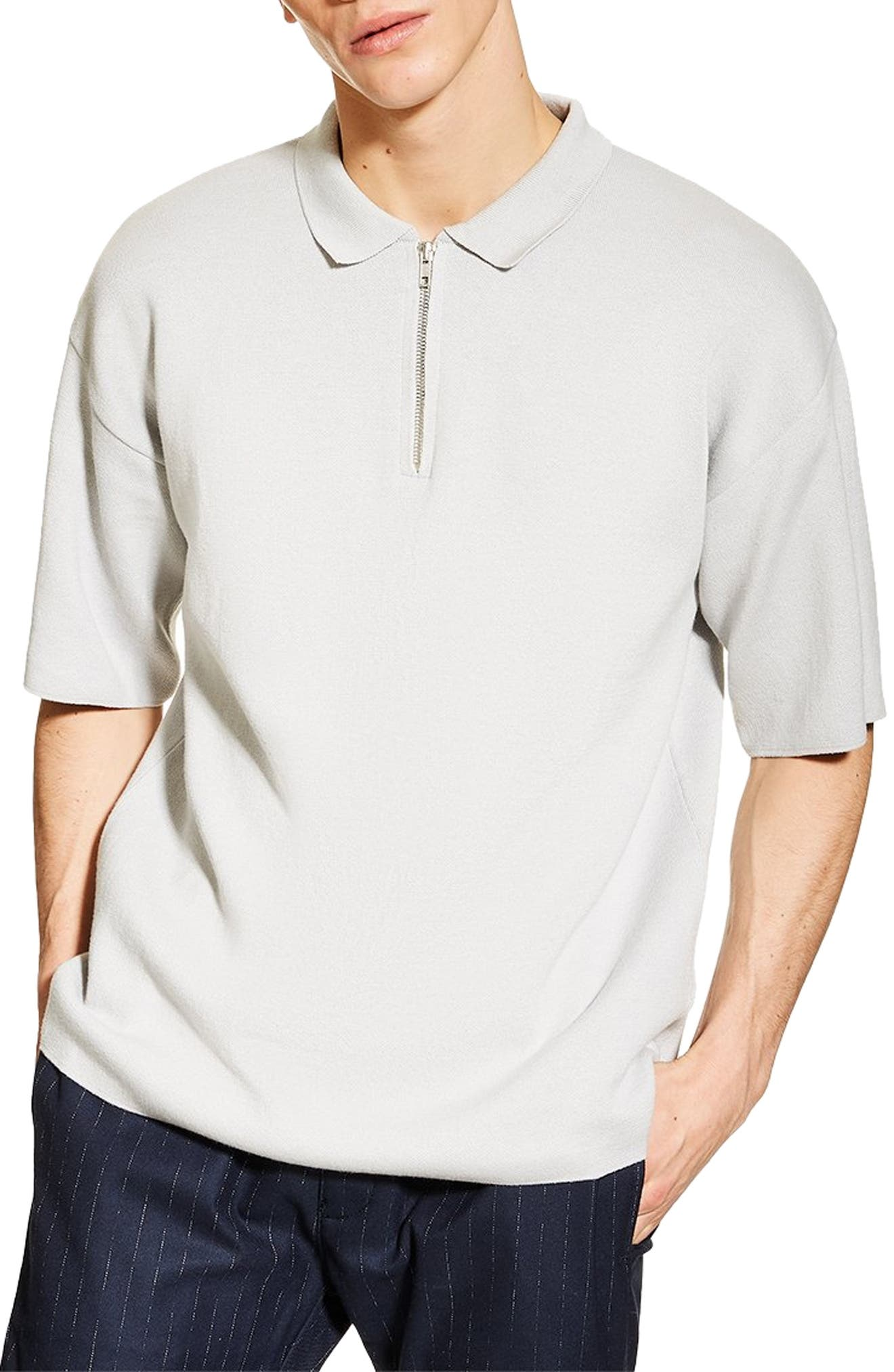 Topman Sweater Knit Polo, Grey