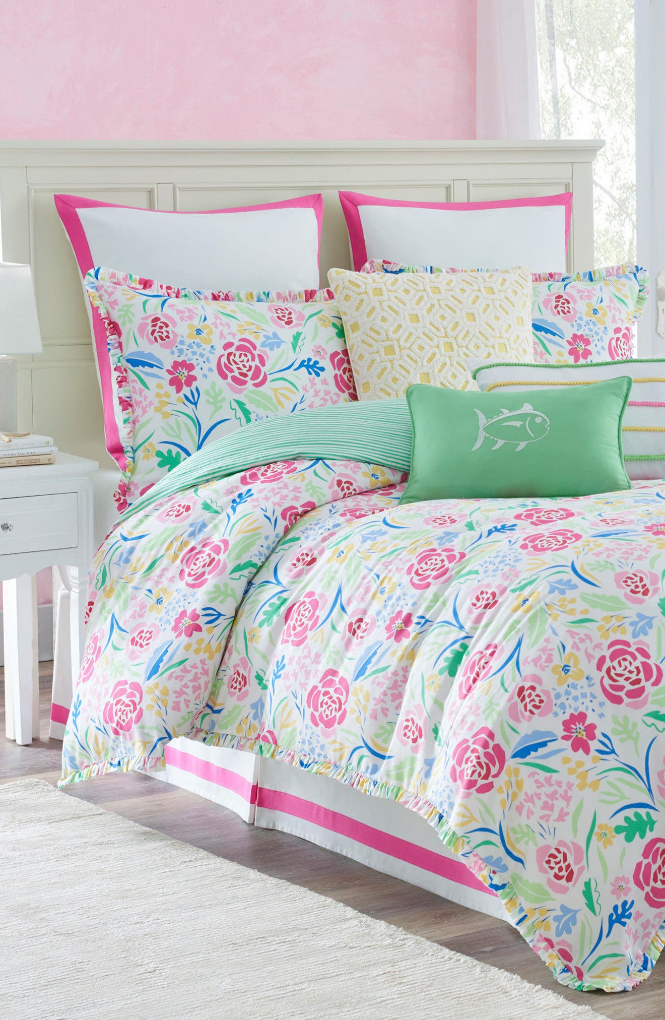 Kiawah Floral Comforter, Sham & Bed Skirt Set,                         Main,                         color, 100