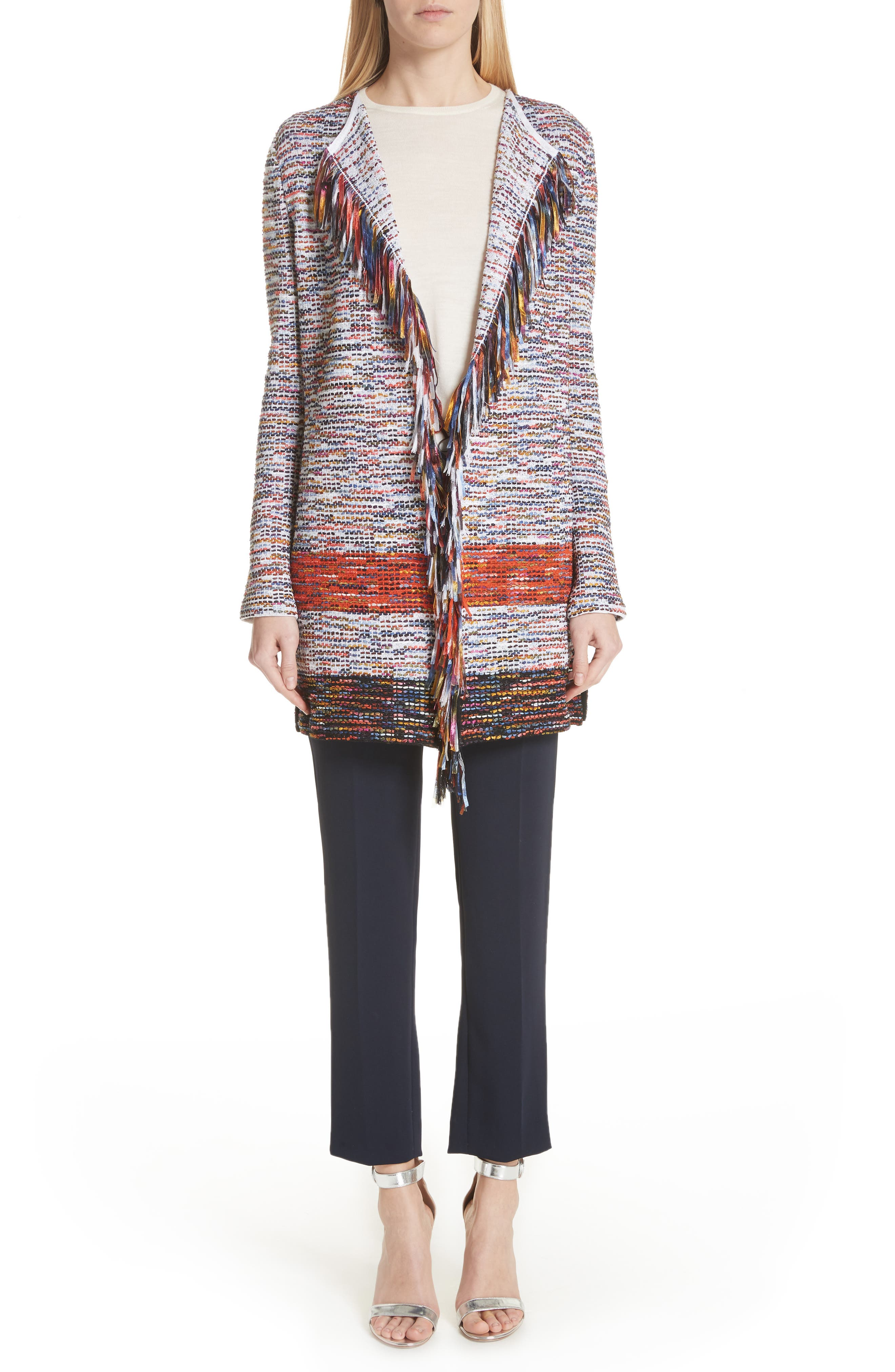 Vertical Fringe Multi Tweed Knit Waterfall Cardigan,                             Alternate thumbnail 8, color,                             SIENNA MULTI