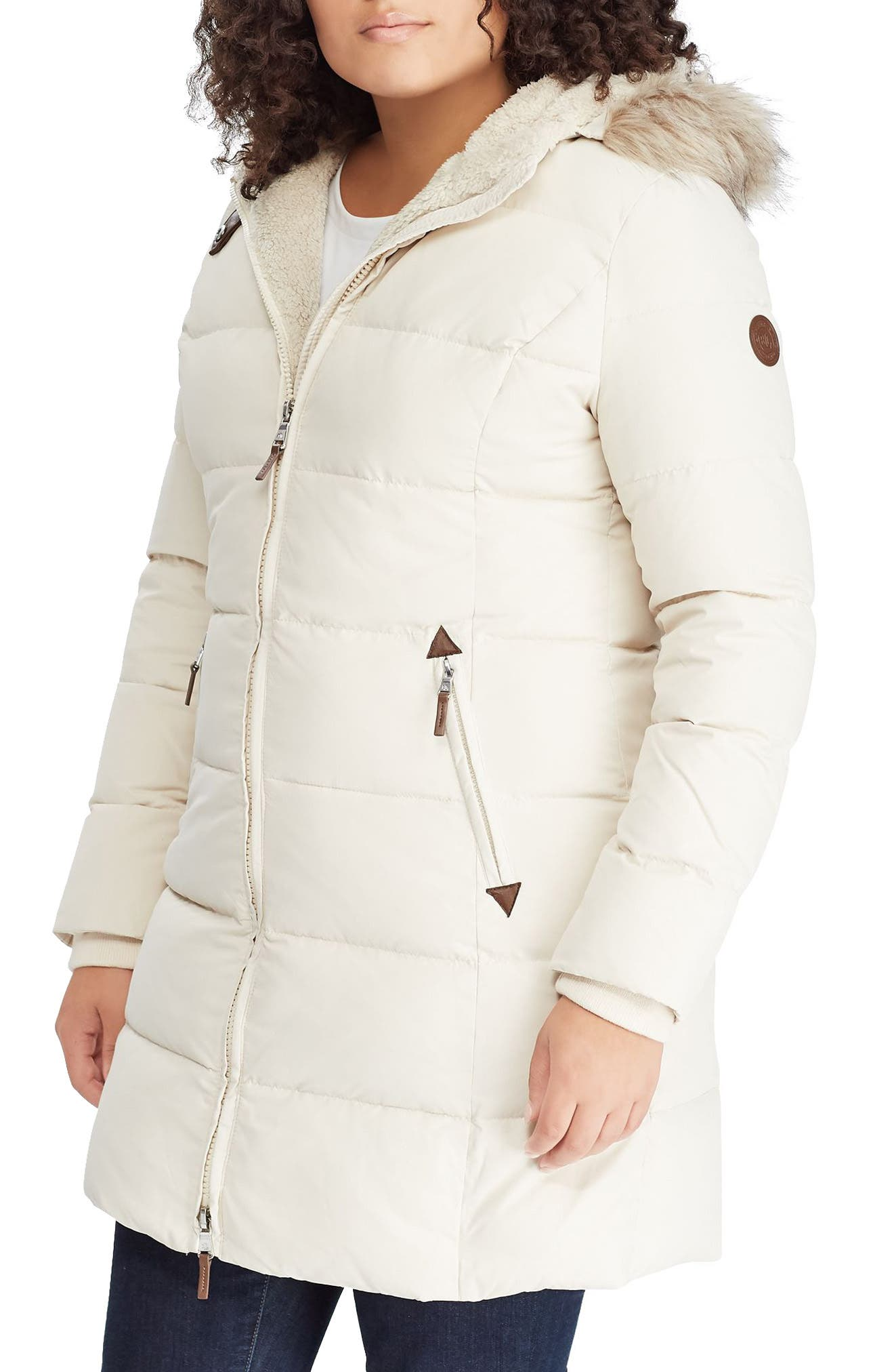 Quilted Down & Feather Fill Parka with Faux Fur Trim,                         Main,                         color, MODA CREAM