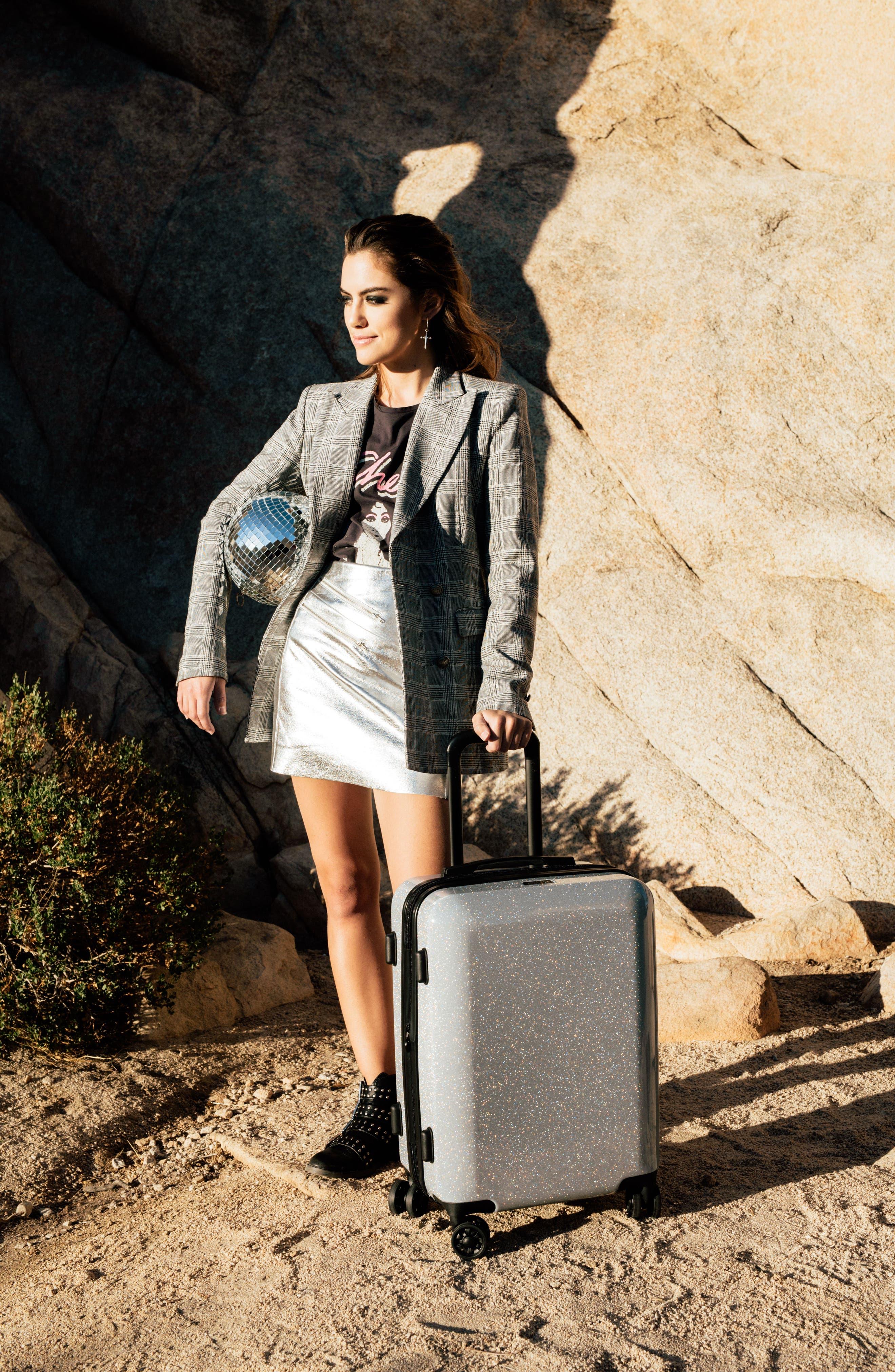Medora Glitter 20-Inch Hardshell Spinner Carry-On Suitcase,                             Alternate thumbnail 6, color,                             SILVER STARDUST