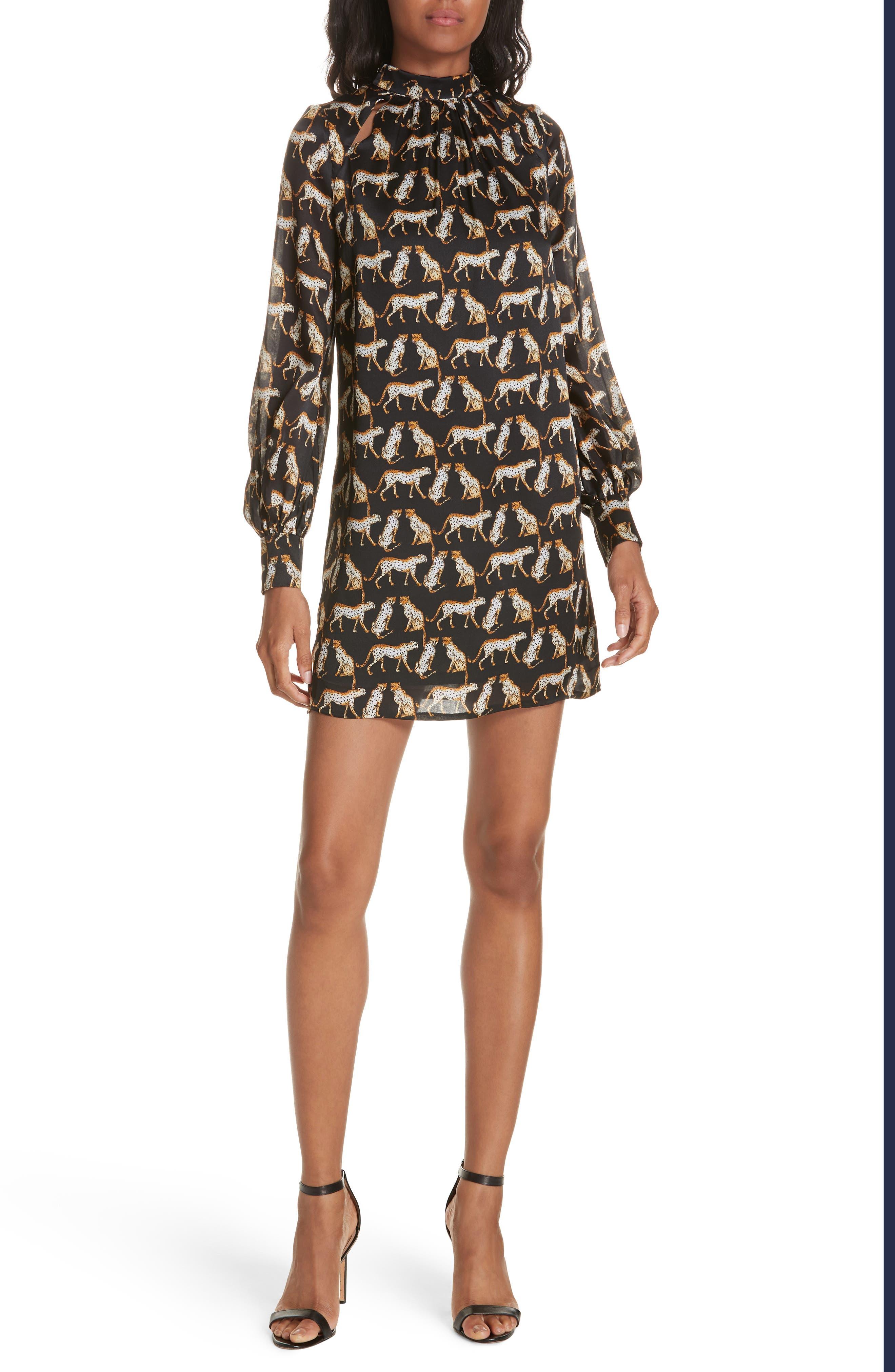 MILLY,                             Cheetah Print High Neck Silk Dress,                             Alternate thumbnail 5, color,                             001