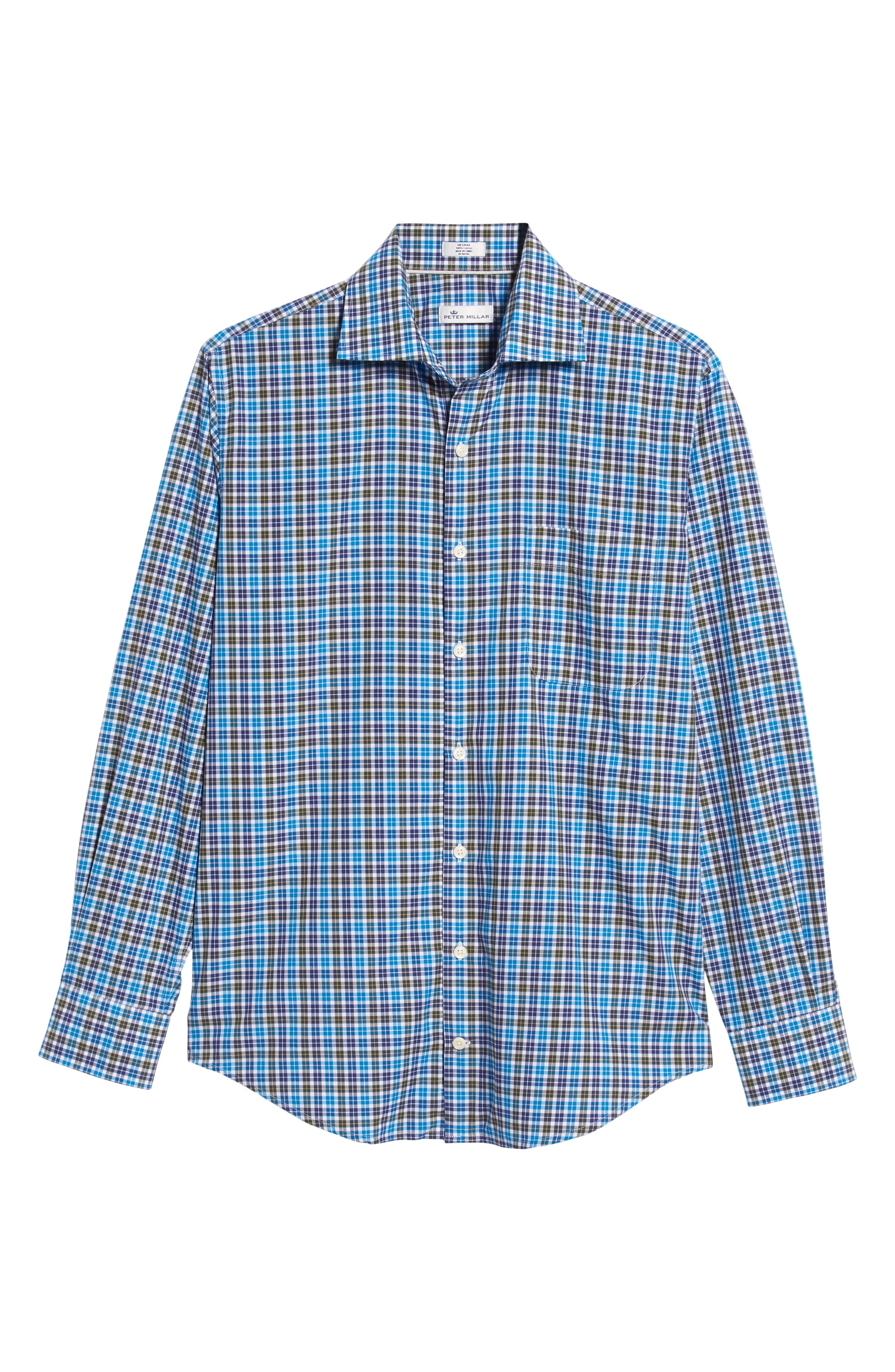 Crown Finish Salthill Check Regular Fit Sport Shirt,                             Alternate thumbnail 5, color,                             BLUE