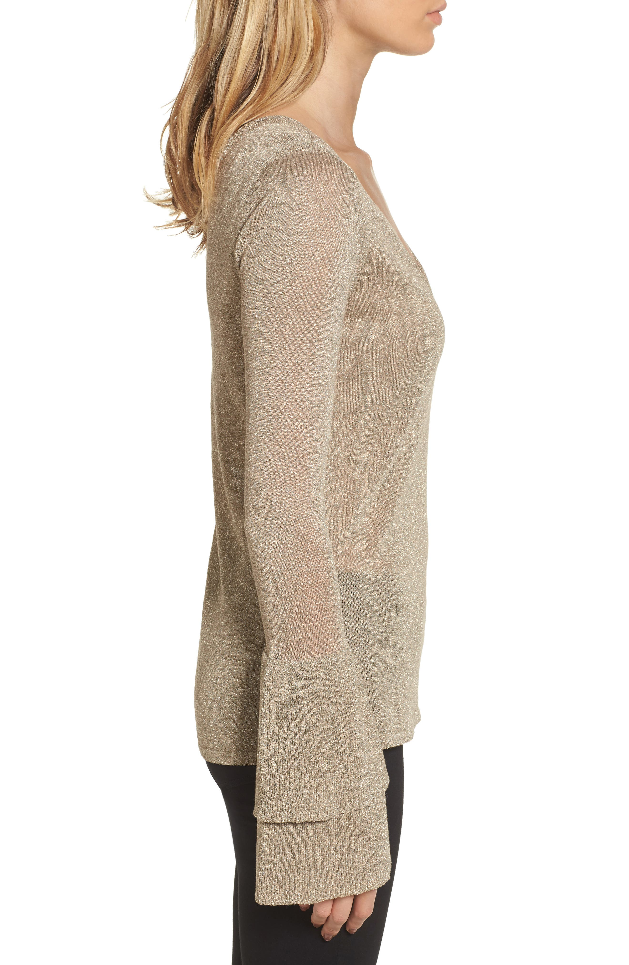 Ruffle Bell Sleeve Sweater,                             Alternate thumbnail 6, color,