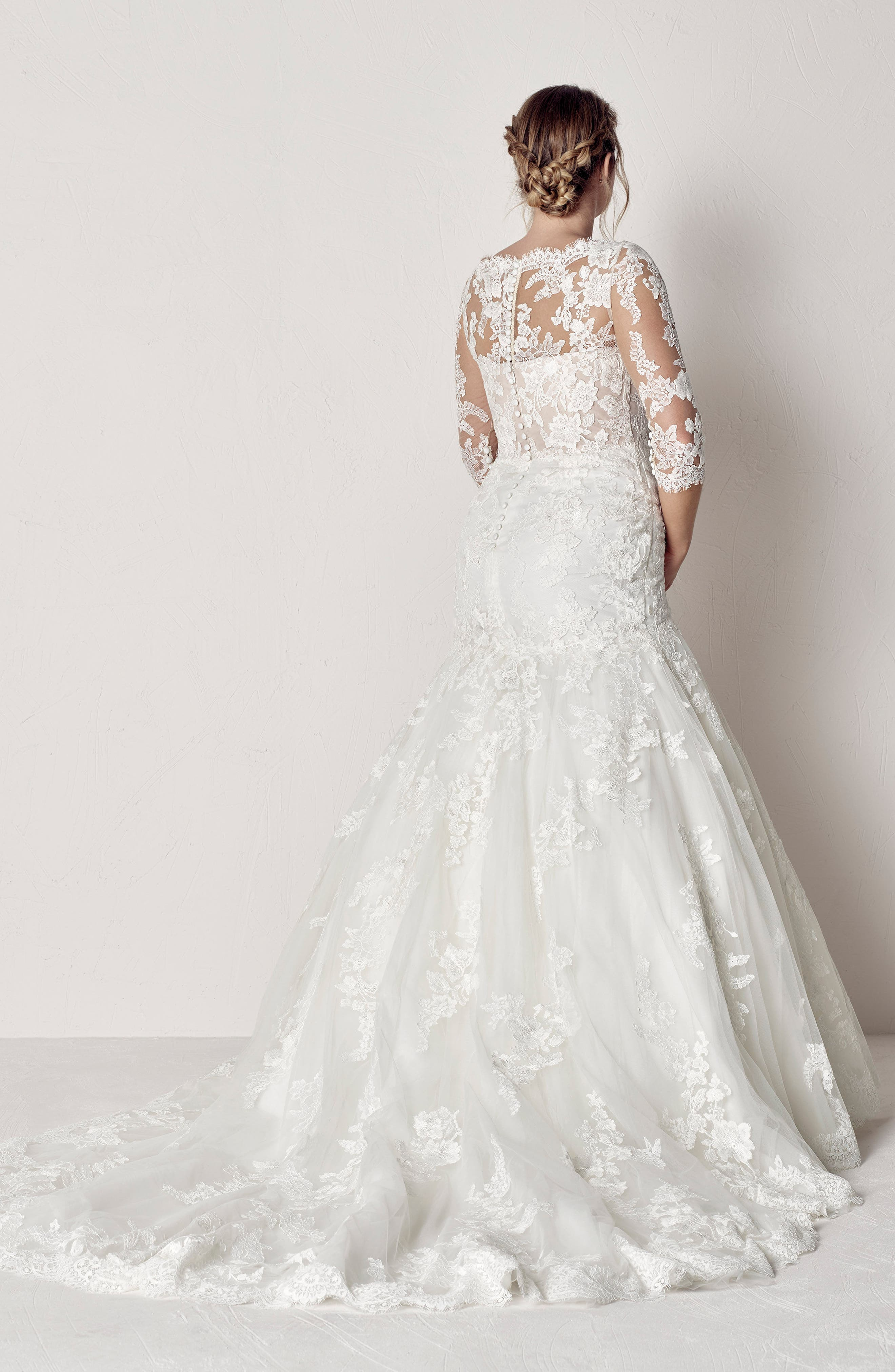 Evelyn Lace Mermaid Gown,                             Alternate thumbnail 2, color,                             OFF WHITE/ CRST/ ND