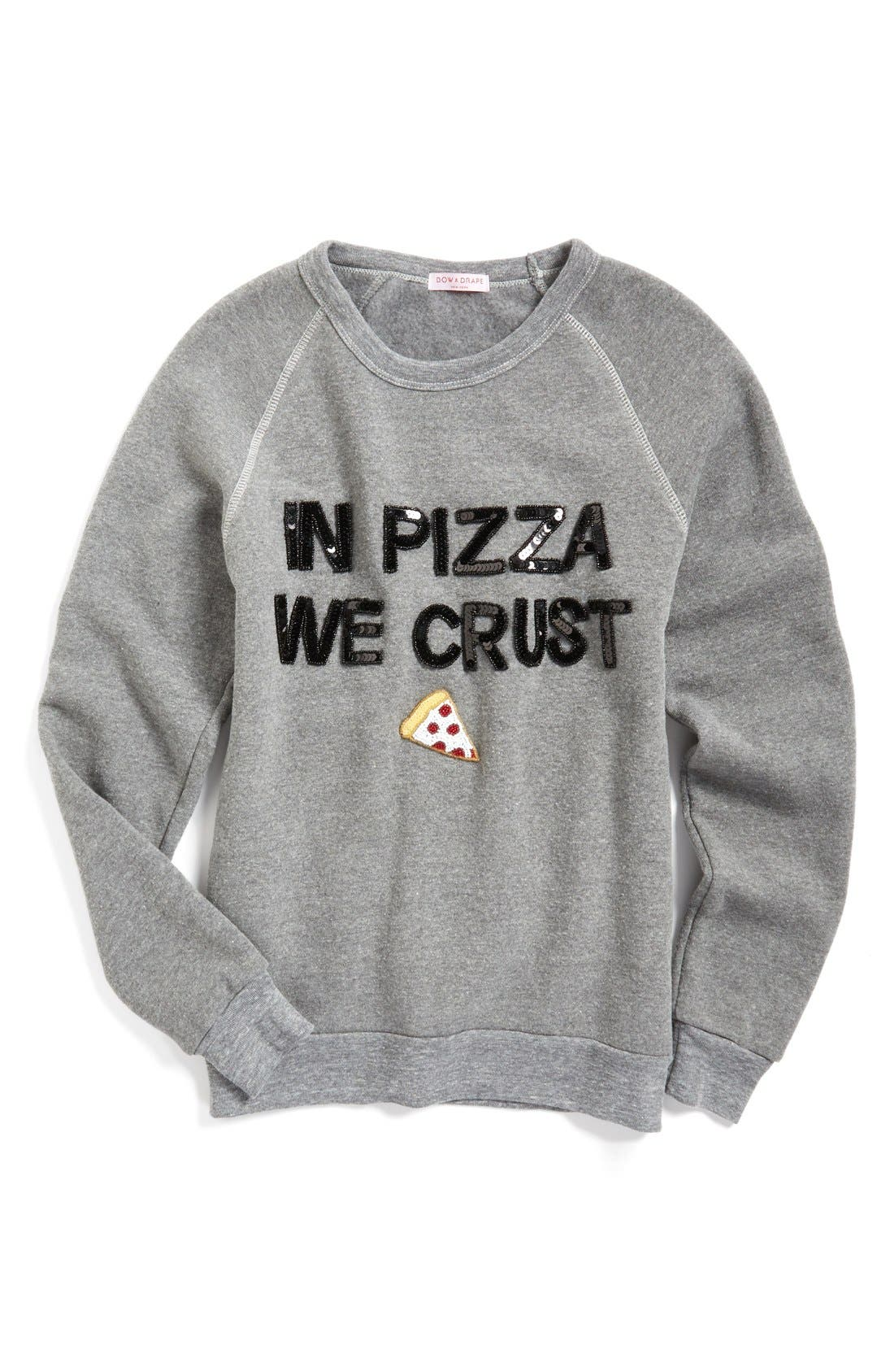 BOW & DRAPE,                             In Pizza We Crust Sweatshirt,                             Main thumbnail 1, color,                             020