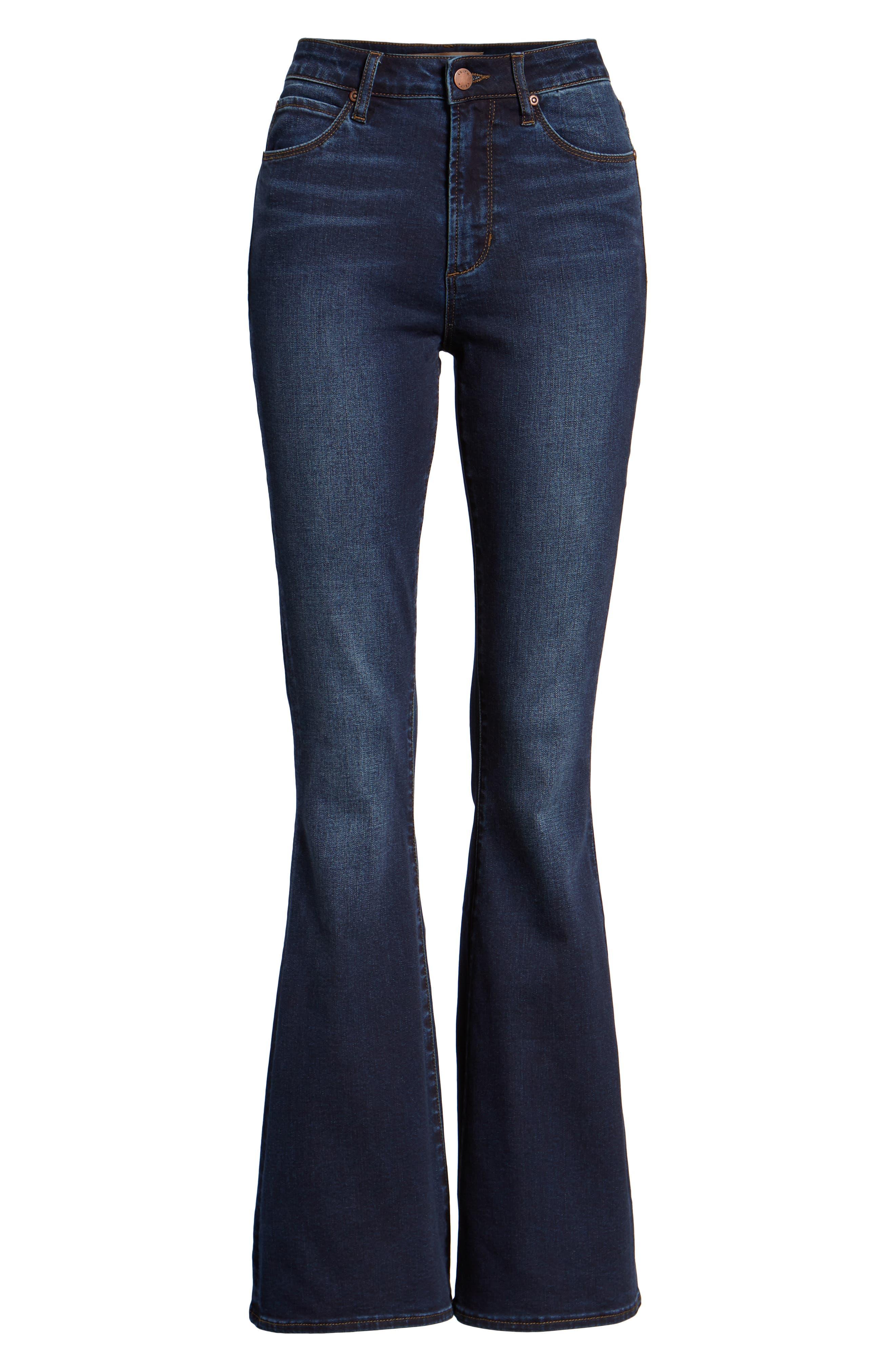 High Waist Flare Jeans,                             Alternate thumbnail 7, color,                             MEDIUM WASH