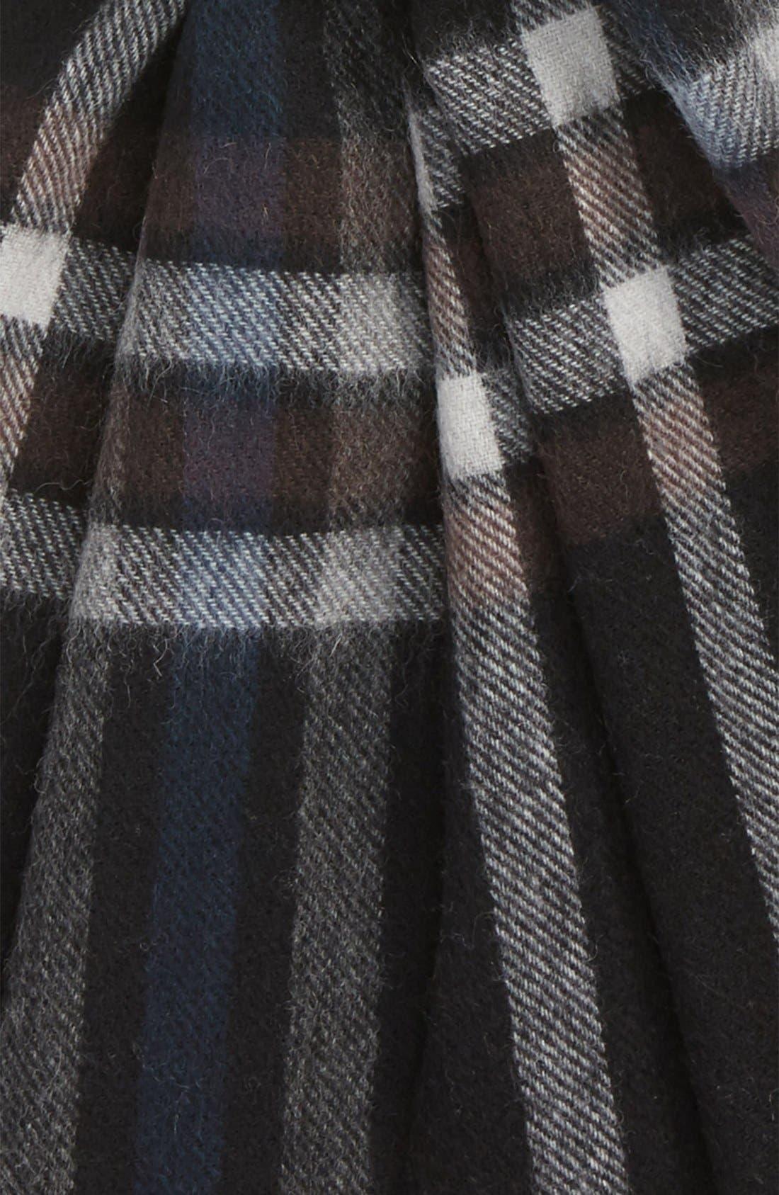 Clean Plaid Wool Scarf,                             Alternate thumbnail 2, color,                             001