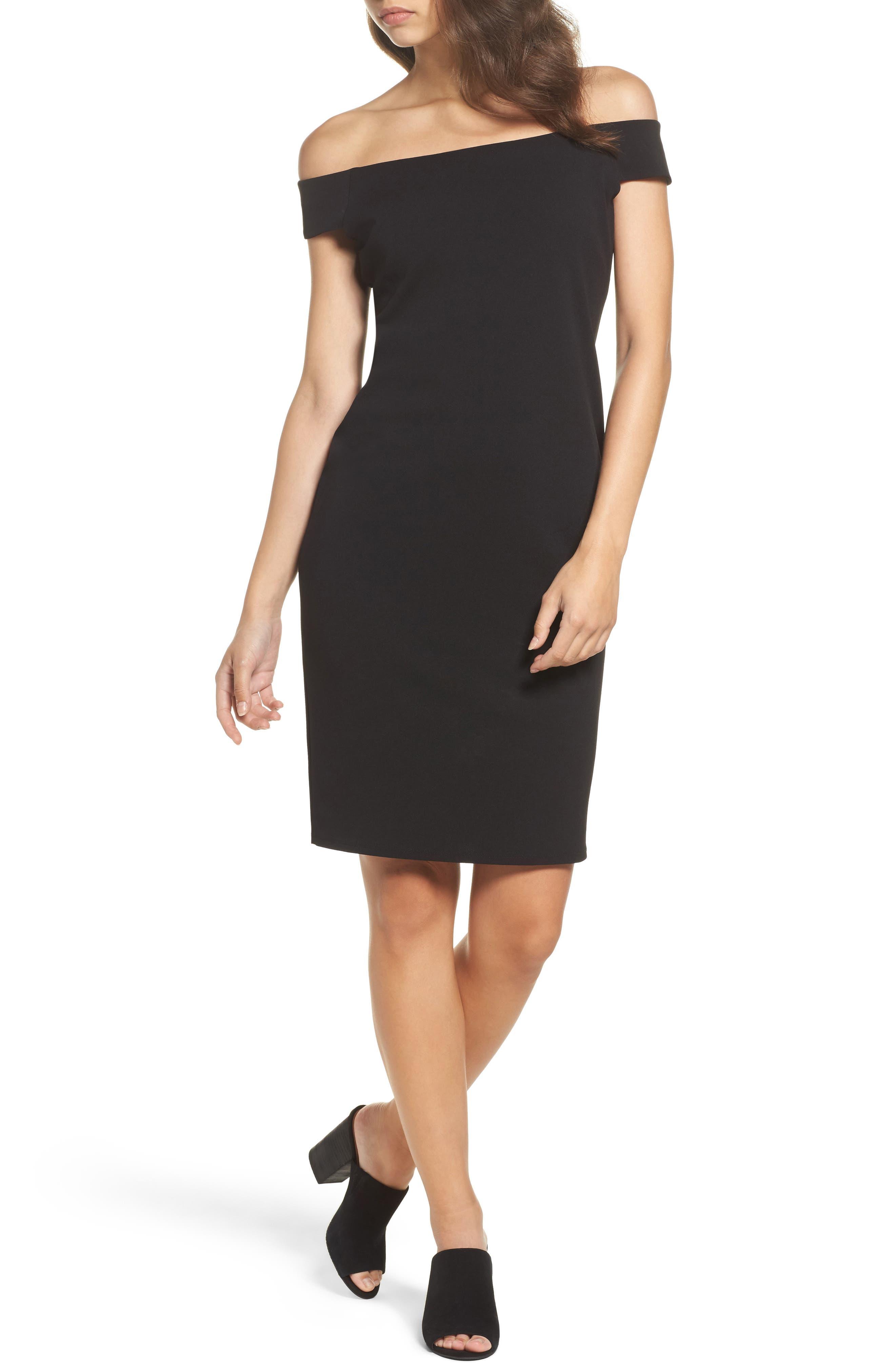 Eliza J Off The Shoulder Sheath Dress, Black