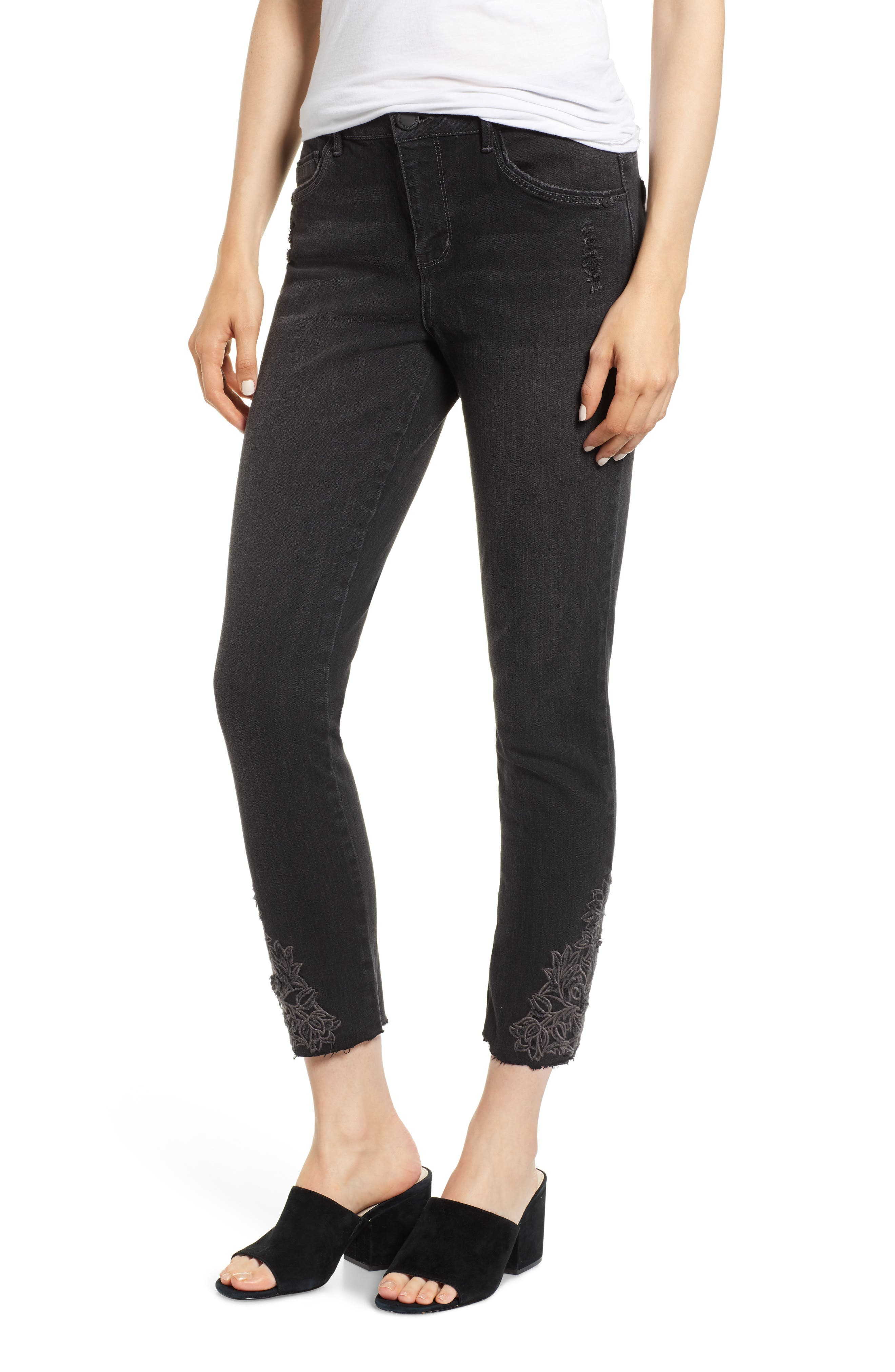 Embroidered High Rise Ankle Skimmer Jeans,                         Main,                         color, 001