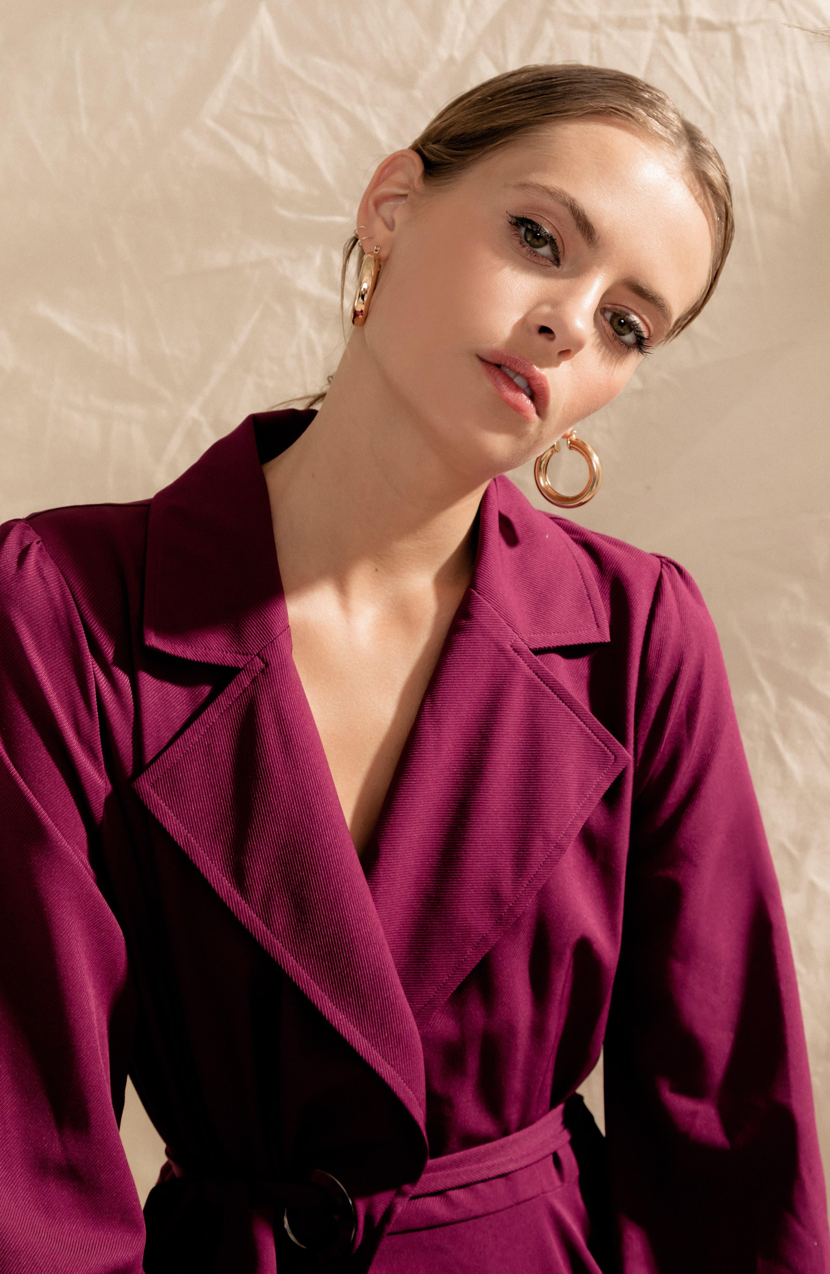 Chriselle Lim Wren Trench Dress,                             Alternate thumbnail 10, color,                             MAGENTA