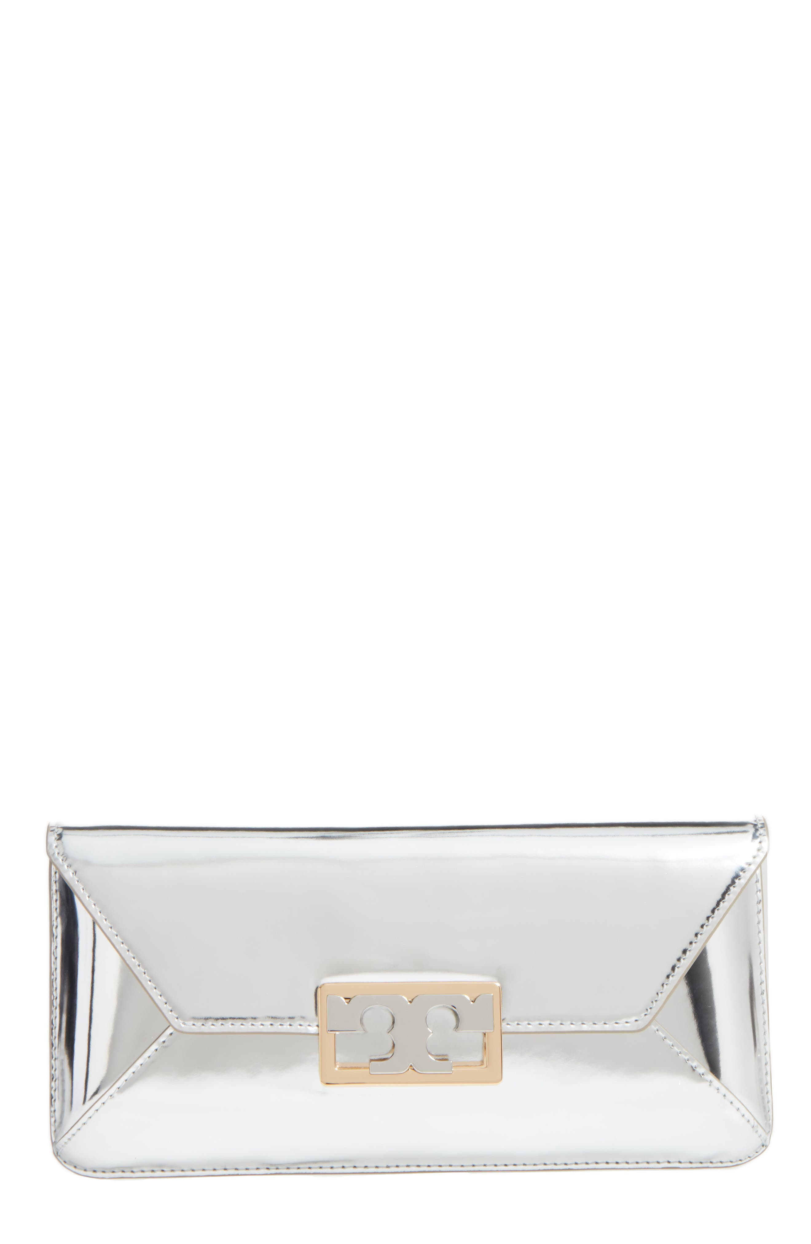 Gigi Metallic Leather Clutch,                         Main,                         color, 049