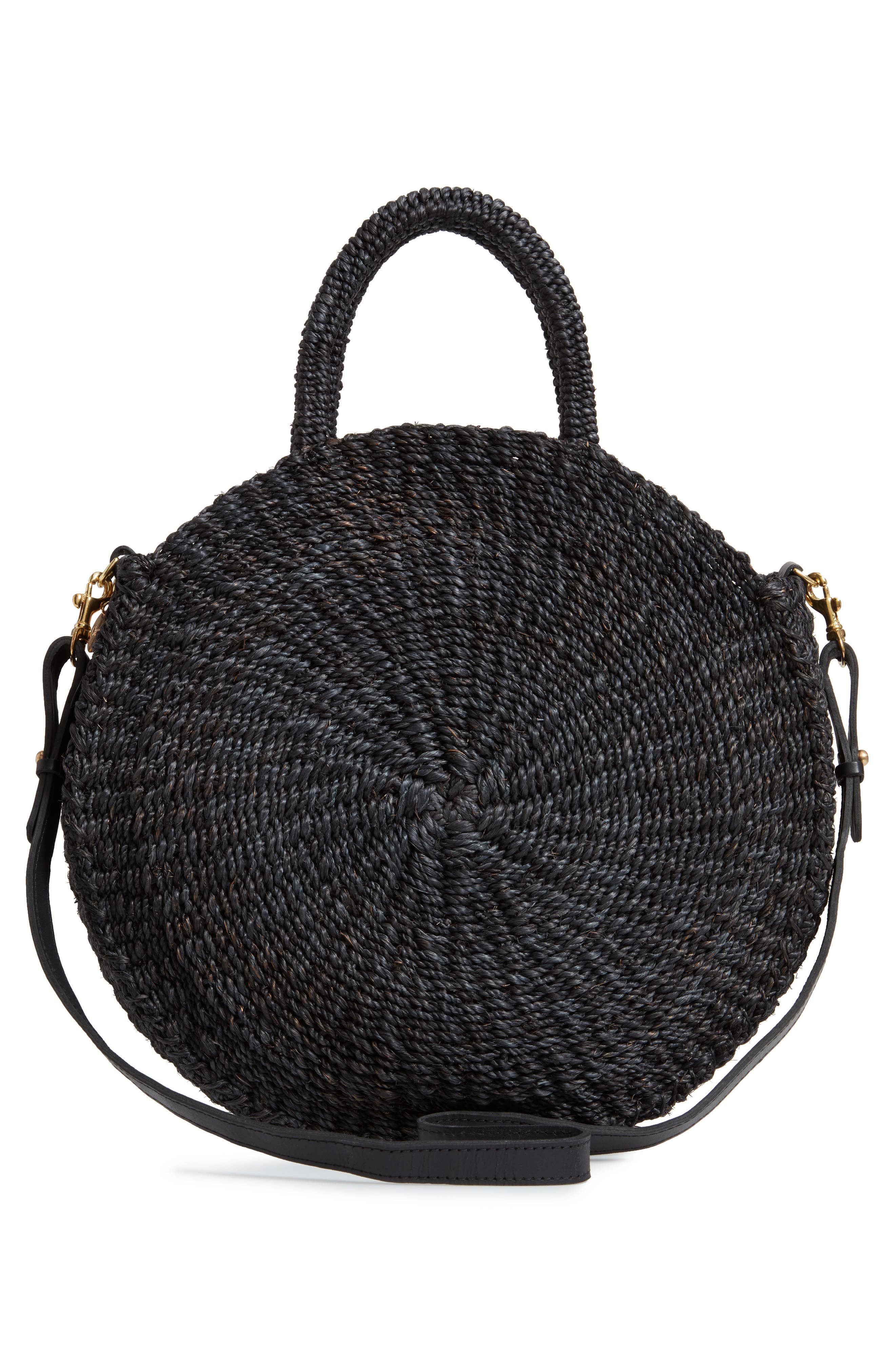 Alice Woven Sisal Straw Bag,                             Alternate thumbnail 3, color,                             BLACK