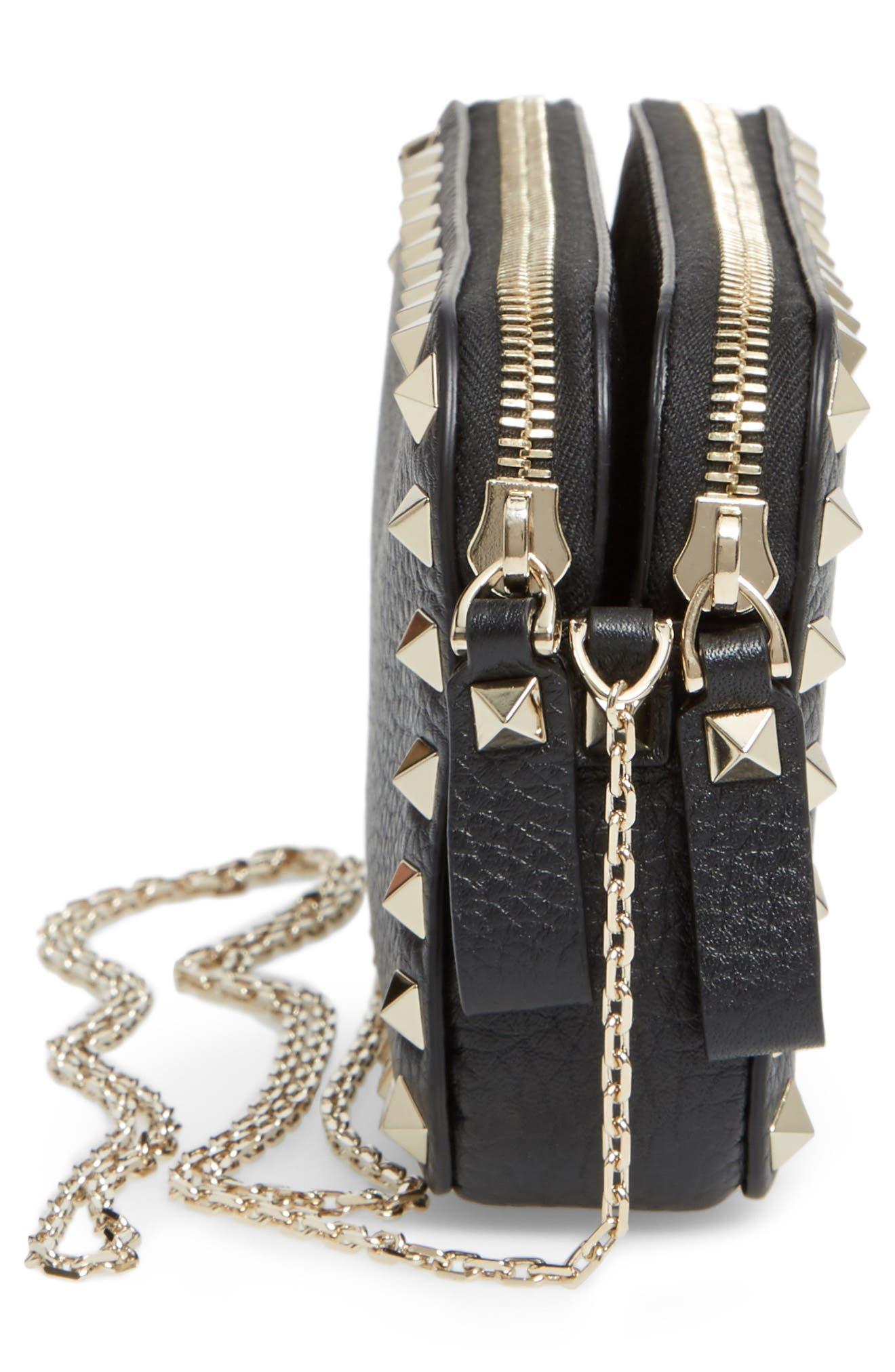 Rockstud Leather Crossbody Bag,                             Alternate thumbnail 9, color,