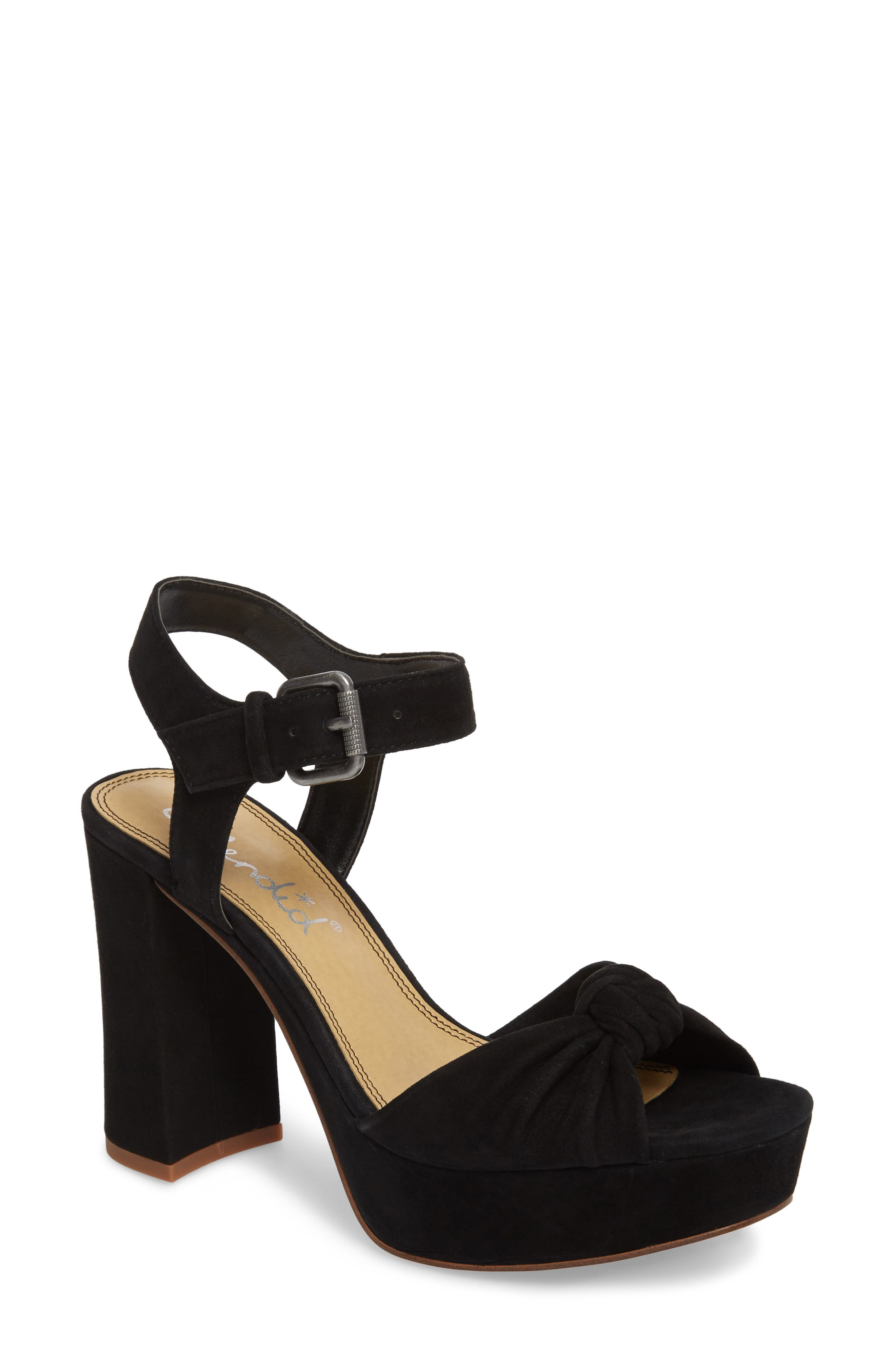 Bates Platform Sandal,                             Main thumbnail 1, color,                             BLACK SUEDE