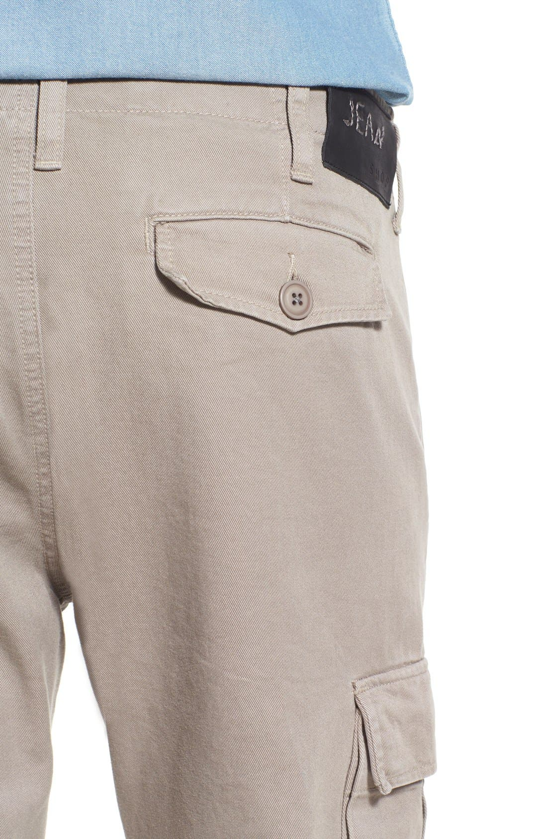 Slim Fit Selvedge Twill Cargo Pants,                             Alternate thumbnail 5, color,                             086
