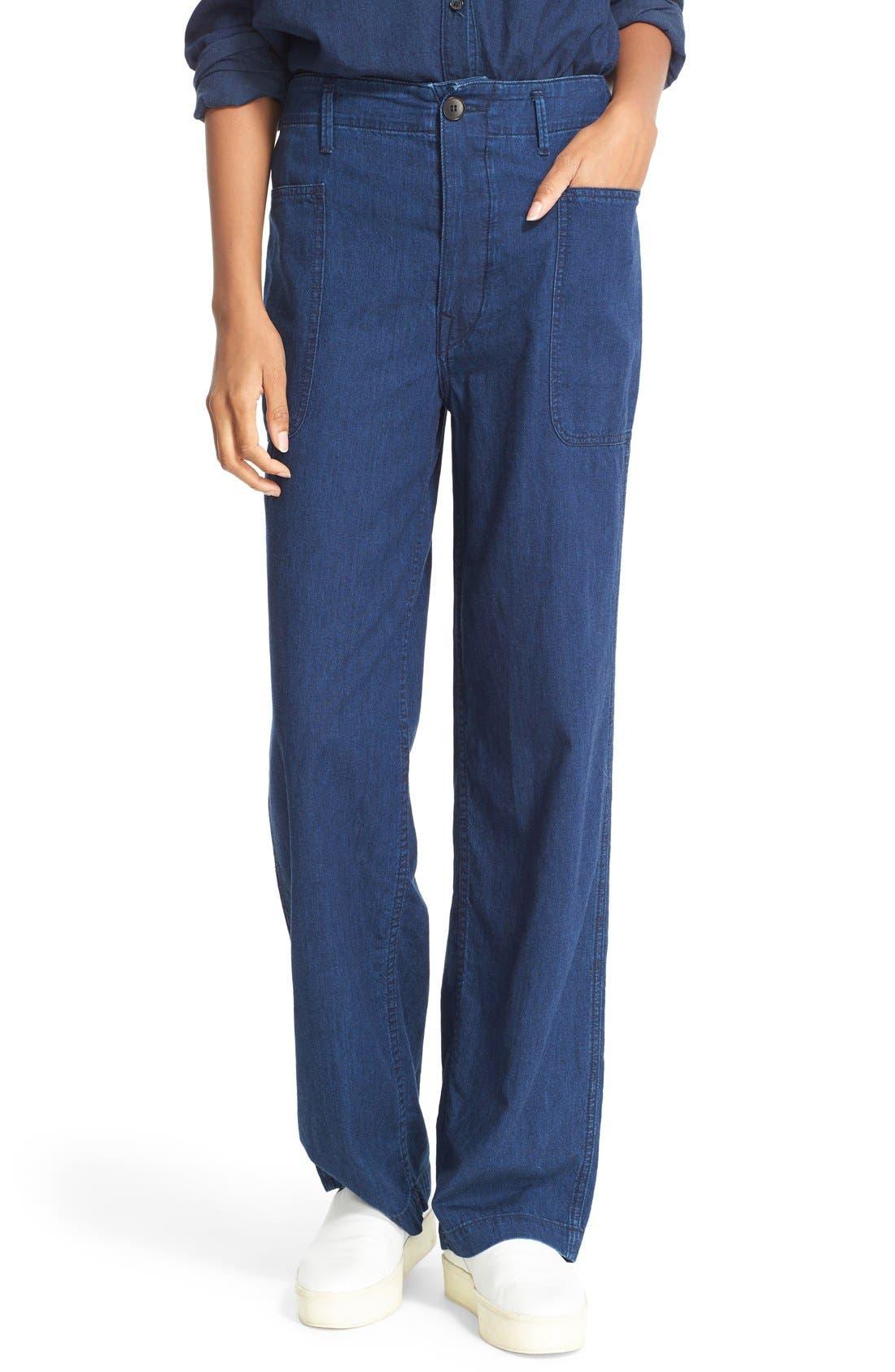 Rinsed Denim Patch Pocket Utility Pants, Main, color, 400