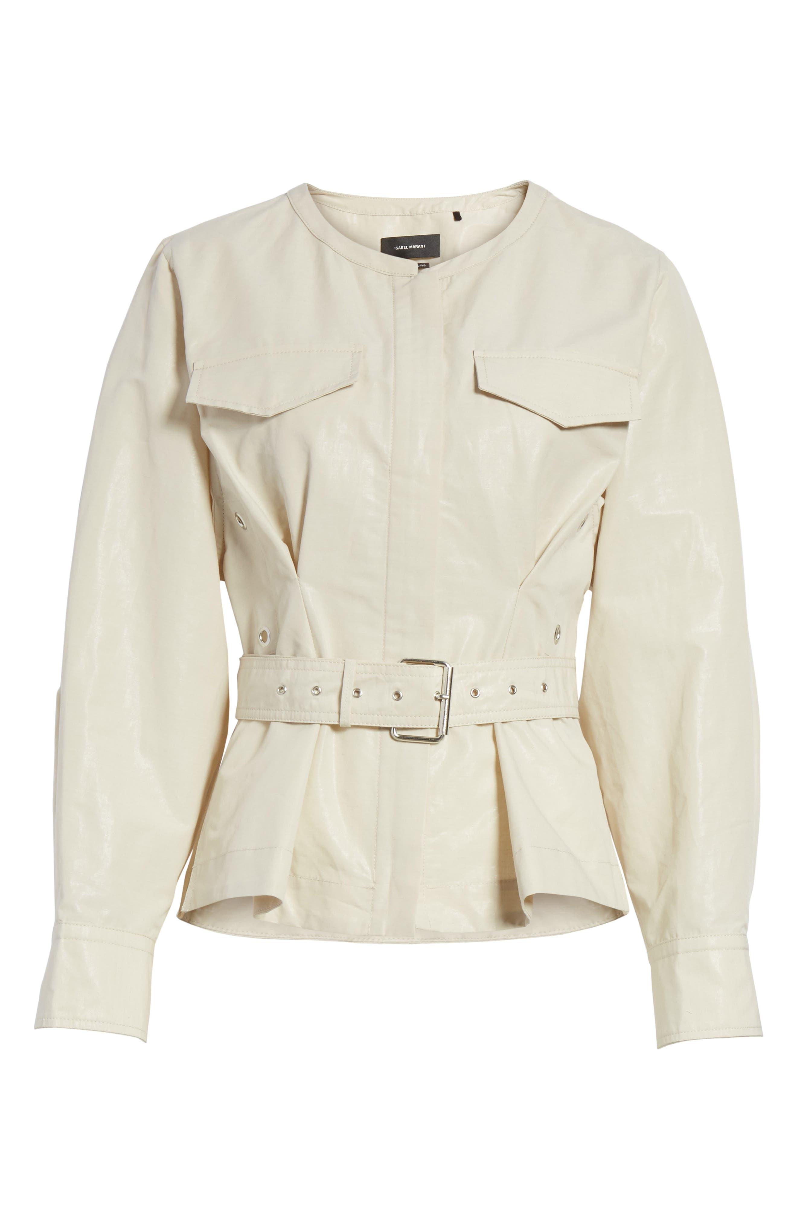 Hacene Cotton & Linen Crop Jacket,                             Alternate thumbnail 5, color,                             250
