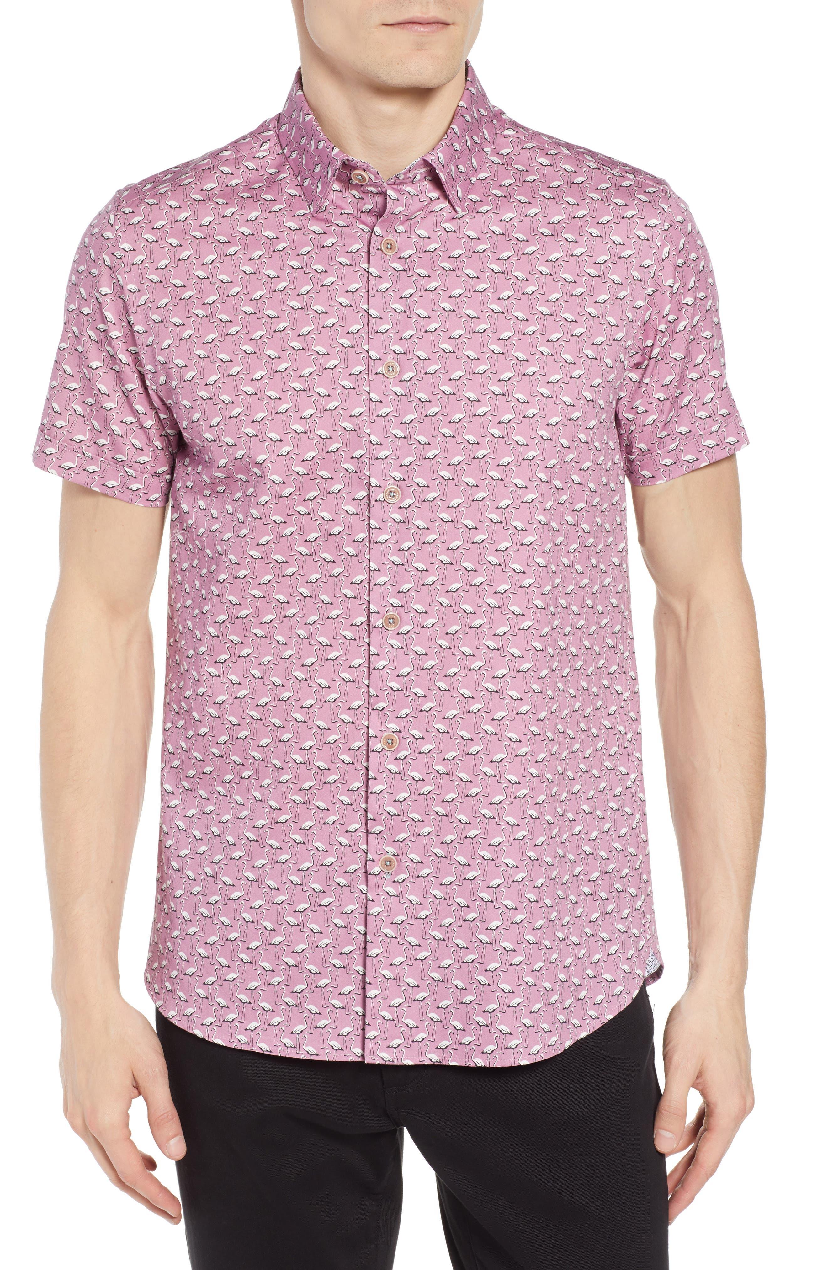 Norflam Flamingo Print Sport Shirt,                         Main,                         color, 650
